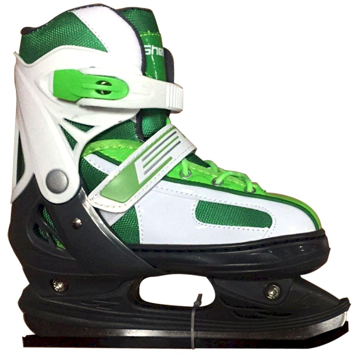Коньки раздвижные Ice Blade Shelby, цвет: черный, зеленый, белый. УТ-00009127. Размер M (34/37)УТ-00009127Коньки раздвижные Shelby - это классические раздвижные коньки от известного бренда Ice Blade, которые предназначены для детей и подростков, а также для тех, кто делает первые шаги в катании на льду. Коньки имеют яркий молодежный дизайн, теплый внутренний сапожок, удобная трехуровневая система фиксации ноги, легкая смена размера, надежная защита пятки и носка - все это бесспорные преимущества модели. Коньки поставляются с заводской заточкой лезвия, что позволяет сразу приступить к катанию и не тратить денег на заточку. Предназначены для использования на открытом и закрытом льду. Характеристики: Тип фиксации: клипса с фиксатором, липучка, шнурки Материал ботинка: морозостойкий пластик Внутренняя отделка: теплый текстильный материал Лезвие: выполнено из высокоуглеродистой стали с покрытием из никеля Упаковка: удобная сумка