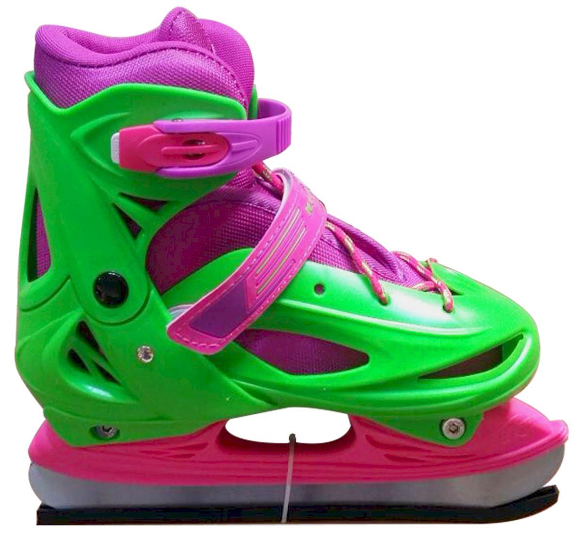 Коньки раздвижные Ice Blade Sophie, цвет: розовый, зеленый. УТ-00009126. Размер M (34/37)УТ-00009126Коньки раздвижные Sophie - это классические раздвижные коньки от известного бренда Ice Blade, которые предназначены для детей и подростков, а также для тех, кто делает первые шаги в катании на льду. Коньки имеют яркий молодежный дизайн, теплый внутренний сапожок, удобная трехуровневая система фиксации ноги, легкая смена размера, надежная защита пятки и носка - все это бесспорные преимущества модели. Коньки поставляются с заводской заточкой лезвия, что позволяет сразу приступить к катанию и не тратить денег на заточку. Предназначены для использования на открытом и закрытом льду. Характеристики: Тип фиксации: клипса с фиксатором, липучка, шнурки Материал ботинка: морозостойкий пластик Внутренняя отделка: теплый текстильный материал Лезвие: выполнено из высокоуглеродистой стали с покрытием из никеля Упаковка: удобная сумка Дополнительно: гарантия 1 год