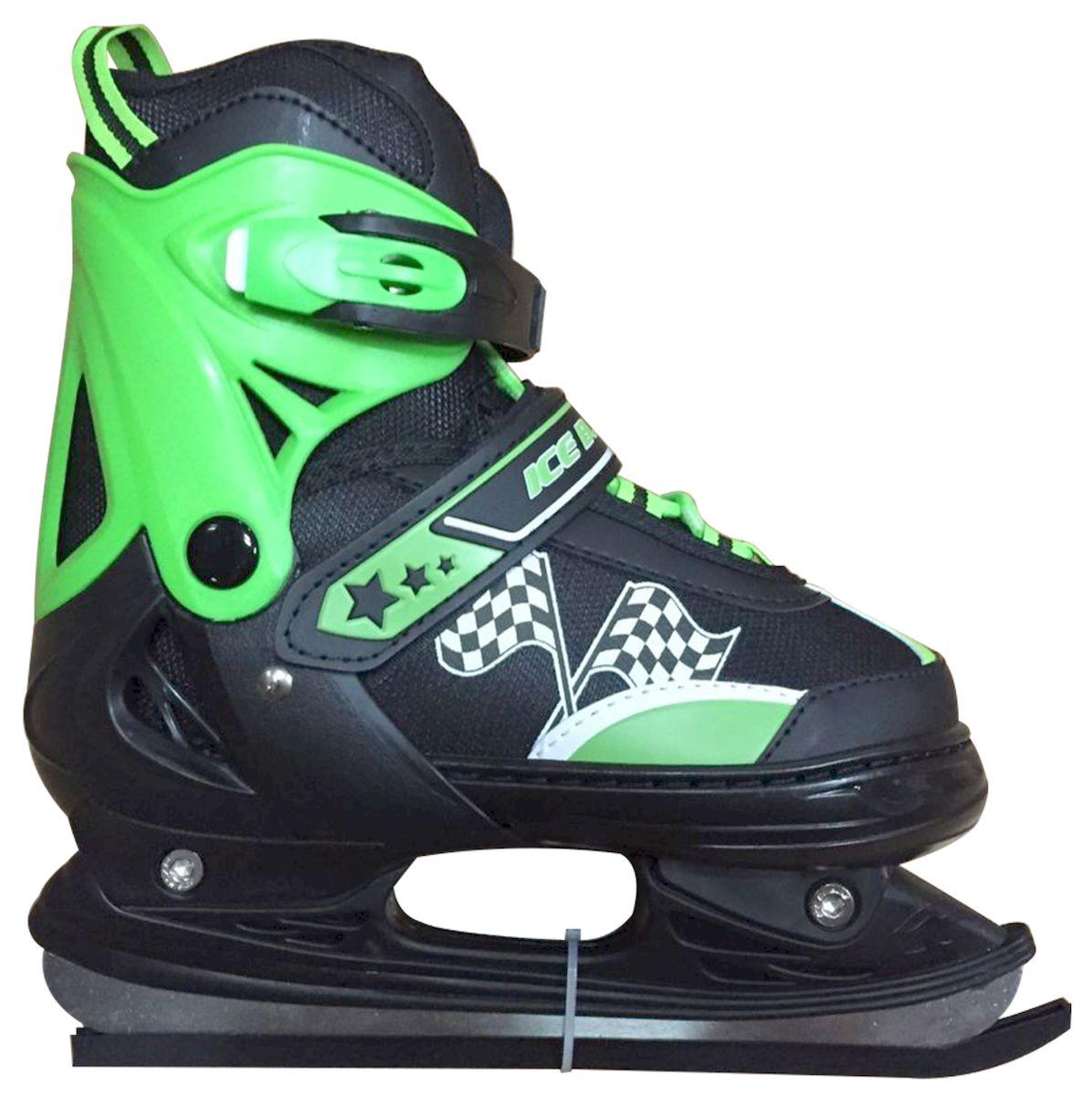 Коньки раздвижные Ice Blade Winner, цвет: черный, зеленый. УТ-00006879. Размер XS (27/30)УТ-00006879Коньки раздвижные Winner - это классические раздвижные коньки от известного бренда Ice Blade, которые предназначены для детей и подростков, а также для тех, кто делает первые шаги в катании на льду. Коньки имеют яркий молодежный дизайн, теплый внутренний сапожок, удобная трехуровневая система фиксации ноги, легкая смена размера, надежная защита пятки и носка - все это бесспорные преимущества модели Winner. Коньки поставляются с заводской заточкой лезвия, что позволяет сразу приступить к катанию и не тратить денег на заточку. Данная модель оснащена хоккейным лезвием. Предназначены для использования на открытом и закрытом льду Основные характеристики: Назначение: раздвижные коньки Тип фиксации: клипса с фиксатором, липучка, шнурки Дополнительные характеристики: Материал ботинка: морозостойкий пластик Внутренняя отделка: теплый текстильный материал Лезвие: выполнено из высокоуглеродистой стали с покрытием из никеля Упаковка: удобная сумка