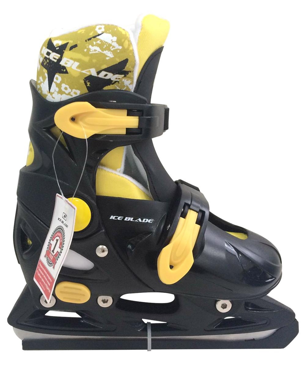 Коньки раздвижные Ice Blade Felix, цвет: черный, желтый. УТ-00009114. Размер M (37/40)УТ-00009114Коньки раздвижные Felix - это классические раздвижные коньки от известного бренда Ice Blade, которые предназначены для детей и подростков, а также для тех, кто делает первые шаги в катании на льду. Коньки имеют яркий молодежный дизайн, теплый внутренний сапожок, удобная система фиксации ноги, легкая смена размера, надежная защита пятки и носка - все это бесспорные преимущества модели. Коньки поставляются с заводской заточкой лезвия, что позволяет сразу приступить к катанию и не тратить денег на заточку. Предназначены для использования на открытом и закрытом льду. Характеристики: Тип фиксации: клипса с фиксатором Материал ботинка: морозостойкий пластик Внутренняя отделка: теплый текстильный материал Лезвие: выполнено из высокоуглеродистой стали с покрытием из никеля Упаковка: удобная сумка Дополнительно: гарантия 1 год