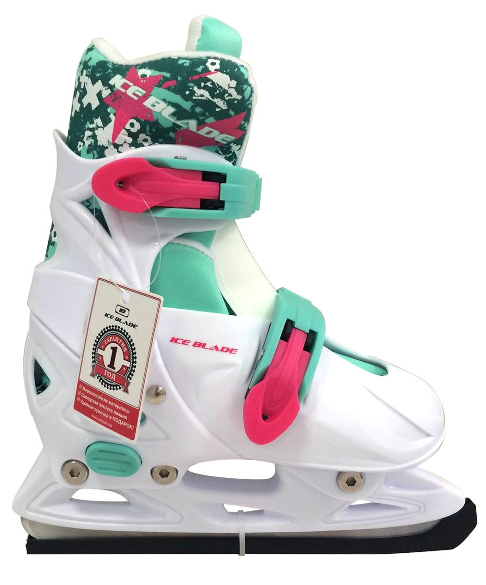 Коньки раздвижные Ice Blade Bonnie, цвет: белый, розовый. УТ-00009113. Размер S (33/36)