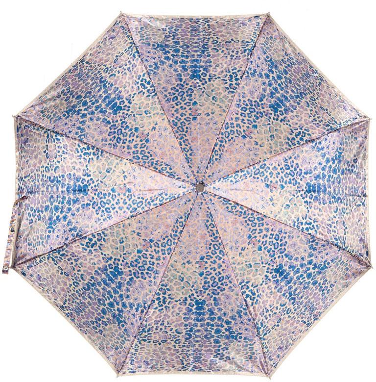 Зонт женский Eleganzza, цвет: бежевый, синий, сиреневый. A3-05-0320LS 09A3-05-0320LS 09Стильный зонт Eleganzza оформлен оригинальным принтом. Зонт состоит из восьми спиц и стержня, изготовленных из стали и фибергласса. Купол выполнен из качественного полиэстера и сатина, которые не пропускают воду. Зонт дополнен удобной ручкой из пластика. Зонт имеет автоматический механизм сложения: купол открывается и закрывается нажатием кнопки на ручке, стержень складывается вручную до характерного щелчка и каркас не вылетает обратно, благодаря чему открывать и закрывать зонт можно одной рукой. Ручка дополнена петлей, благодаря которой зонт можно носить на запястье . К зонту прилагается чехол.