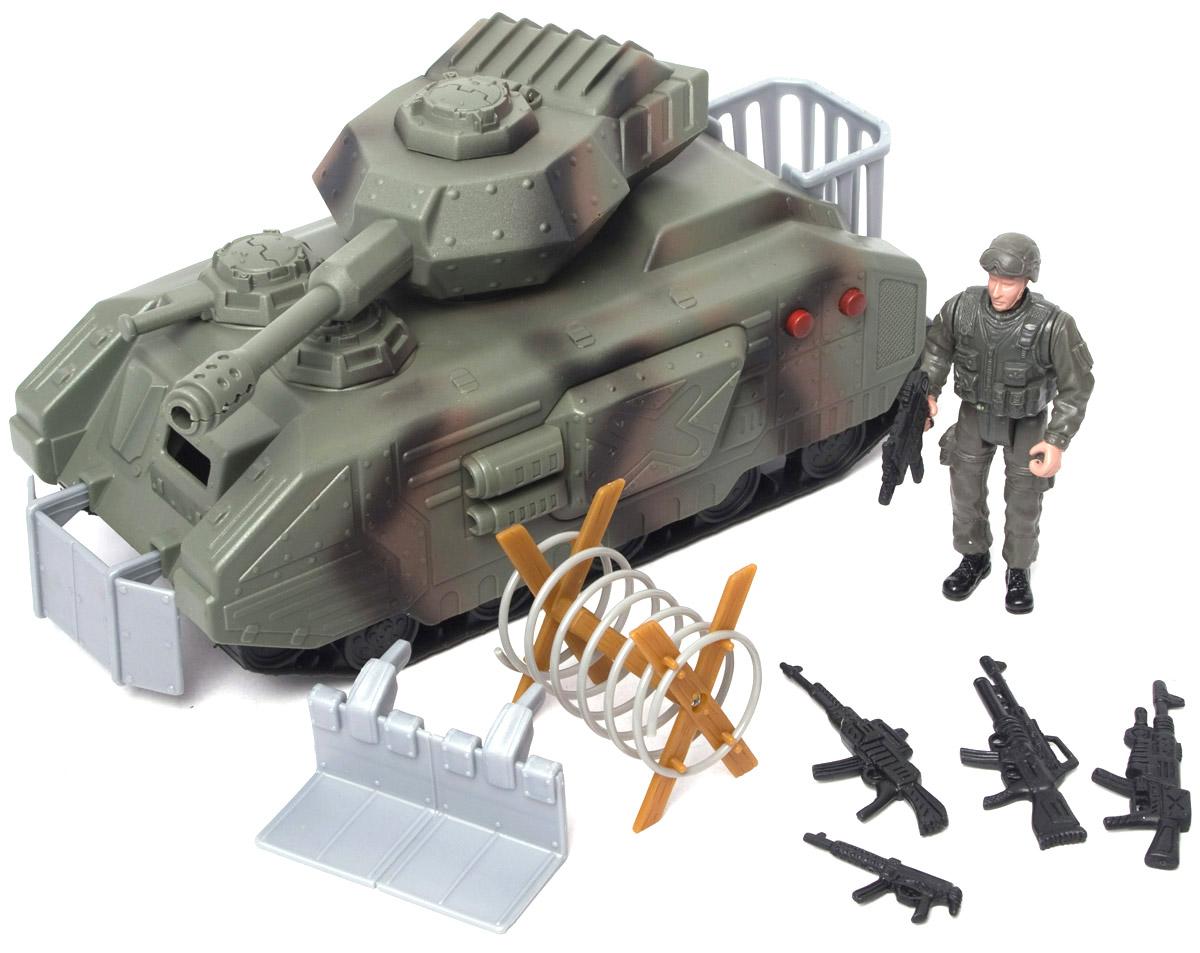 Boley Игровой набор Военные31297Игровой набор Boley Военные - отличный подарок для каждого мальчика к любому празднику! С ним ребенок сможет затеять увлекательную сюжетно-ролевую игру на военную тематику, одну из самых популярных среди мальчиков. В набор входит большой танк, фигурка солдата, 5 единиц стрелкового оружия, заграждение и два сменных противоминных плуга. Башня танка поворачивается, люк открывается, имеются звуковые эффекты стрельбы, которые активируются двумя кнопками на боковой броне танка. У фигурки сгибаются руки и ноги, голова поворачивается. Все предметы выполнены из высококачественных, экологически чистых материалов, совершенно безопасных для ребенка. Игровой набор выглядит ярко и очень эффектно. Для работы игрушки необходимы 3 батарейки типа AG13 напряжением 1,5V (товар комплектуется демонстрационными).