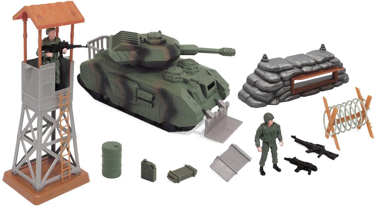 Boley Игровой набор Военные 3151131511Игровой набор Boley Военные - отличный подарок для каждого мальчика к любому празднику! С ним ребенок сможет затеять увлекательную сюжетно-ролевую игру на военную тематику, одну из самых популярных среди мальчиков. В набор входит большой танк, 2 фигурки солдат, 3 единицы стрелкового оружия, наблюдательная вышка, заграждение, 2 сменных противоминных плуга, элемент дзота с амбразурой, бочка, канистра, ящик с боеприпасами. Башня танка поворачивается, люк открывается, имеются звуковые эффекты стрельбы, которые активируются двумя кнопками на боковой броне танка. У фигурок сгибаются руки и ноги, головы поворачиваются. Все предметы выполнены из высококачественных, экологически чистых материалов, совершенно безопасных для ребенка. Игровой набор выглядит ярко и очень эффектно. Для работы игрушки необходимы 3 батарейки типа AG13 напряжением 1,5V (товар комплектуется демонстрационными).