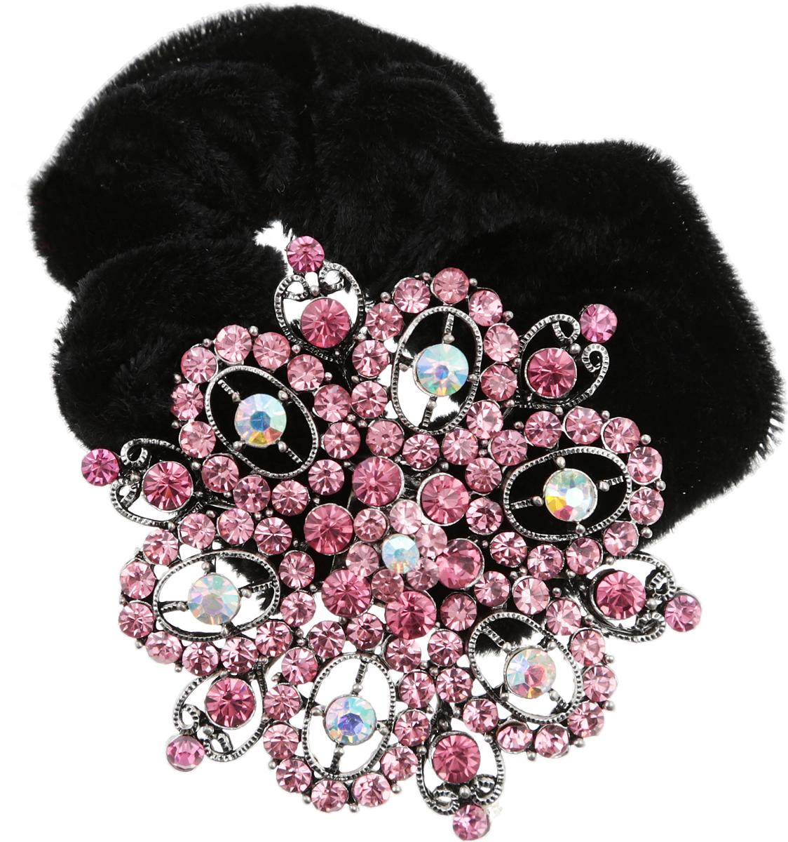 Резинка для волос от D.Mari. Велюр, кристаллы Aurora Borealis, розовые кристаллы, бижутерный сплав серебряного тона. Гонконг1705-WHITE-DAMРезинка для волос от D.Mari. Велюр, кристаллы Aurora Borealis, розовые кристаллы, бижутерный сплав серебряного тона. Гонконг. Размер - резинка эластичная подойдет на любой размер.