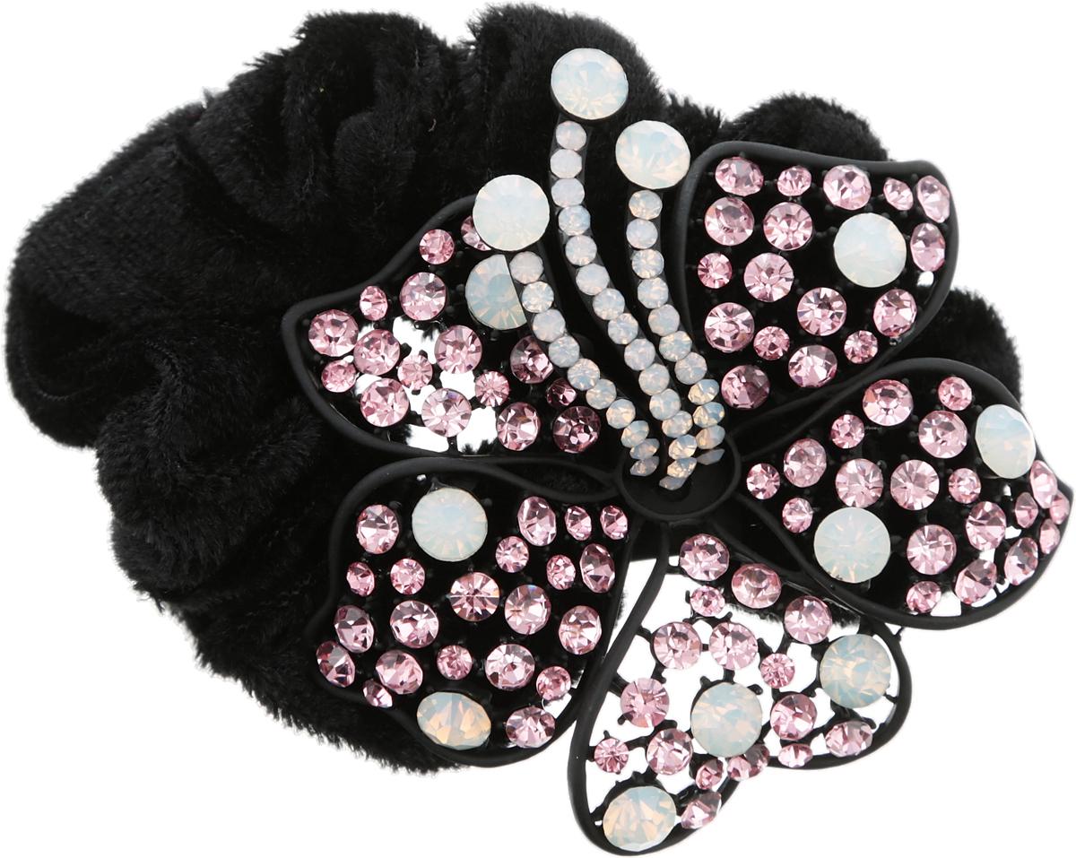 Резинка для волос от D.Mari. Велюр, опаловое стекло, розовые кристаллы, бижутерный сплав. Гонконг
