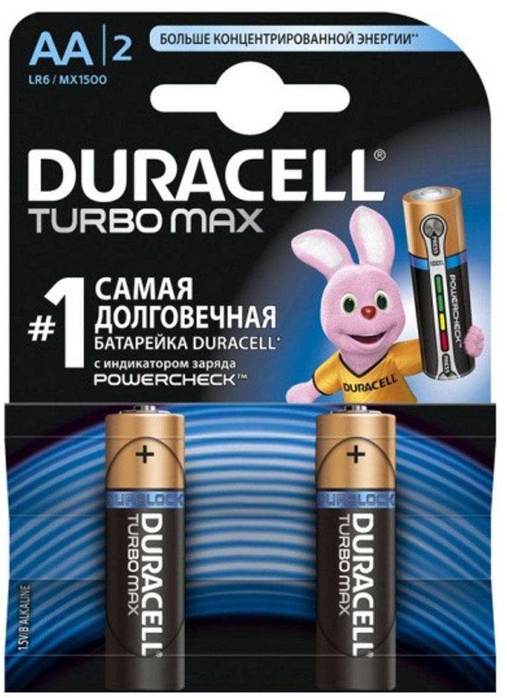 Набор алкалиновых батареек Duracell Turbo MAX, тип AA, 2 шт706012Набор батареек Duracell Turbo Max предназначен для использования в различных электронных устройствах небольшого размера, например в пультах дистанционного управления, портативных MP3-плеерах, фотоаппаратах, различных беспроводных устройствах. Батарейки оснащены индикатором заряда. Тип элемента питания: AA (LR6). Тип электролита: щелочной. Выходное напряжение: 1,5 В. Комплектация: 2 шт.