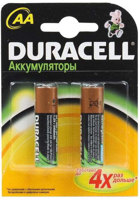 Набор аккумуляторов Duracell, AA NiMH 2450 mAh, 2 штDRC-75070277Никель-металлгидридные аккумуляторы Duracell - идеальное решение для цифровых приборов с высоким потреблением энергии. Их основное преимущество перед другими типами аккумуляторов заключается в более продолжительном времени работы в течение одного цикла зарядки. Используя такой аккумулятор, можно не беспокоиться, что фотоаппарат разрядится или МРЗ-плеер выключится в самый неподходящий момент. Никель-металлгидридные аккумуляторы практически избавлены от эффекта памяти. Аккумулятор можно заряжать не полностью разряженный, если он не хранился больше нескольких дней в таком состоянии. Если аккумулятор был частично разряжен, а затем не использовался более 30 дней, то перед зарядкой его необходимо полностью разрядить.
