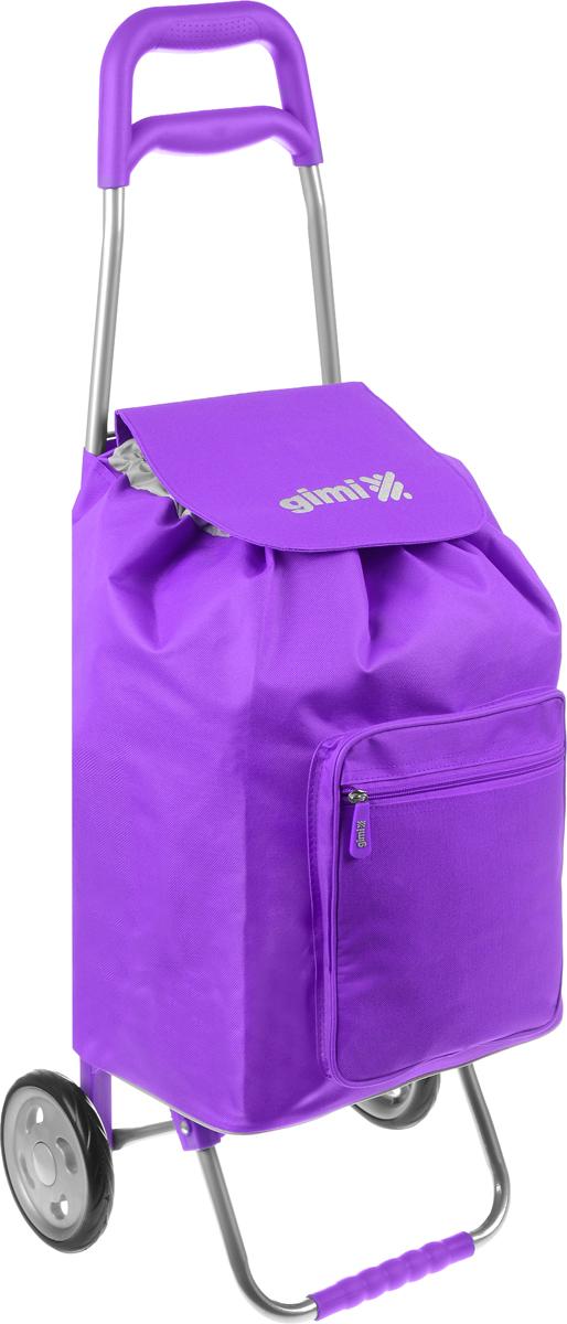 Сумка-тележка Gimi Argo, цвет: фиолетовый, серый, 45 л1551550040000Хозяйственная сумка-тележка Gimi Argo выполнена из высококачественного полиэстера со стальным каркасом. Она оснащена 1 вместительным отделением, закрывающимся на шнурок. Спереди расположен карман на застежке-молнии. Сумка водоустойчива, оснащена 2 колесами, обеспечивающими удобство транспортировки. Для компактного хранения сумку можно сложить. Максимальная нагрузка: 30 кг.
