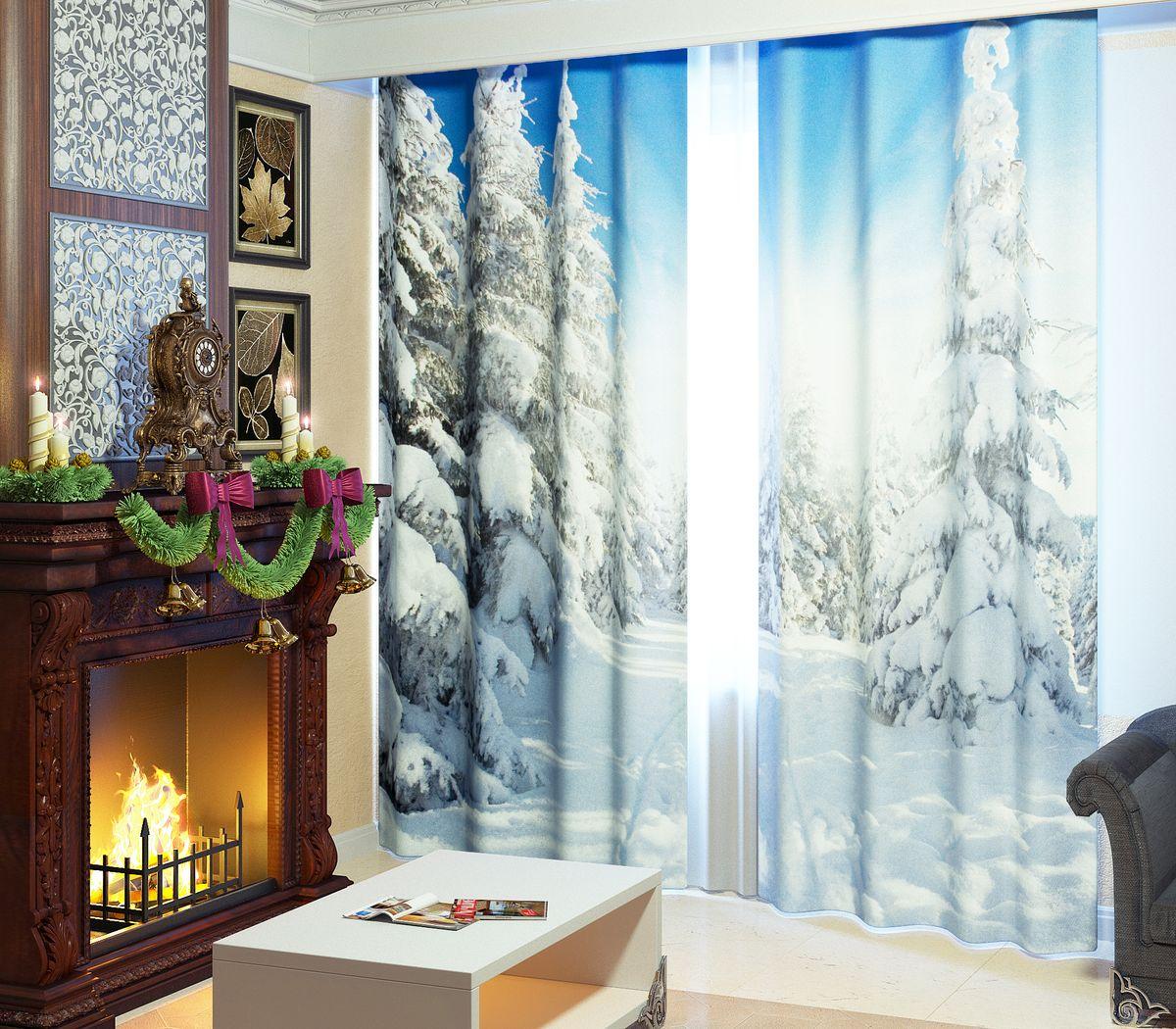 """Фотошторы Сирень """"Зимний лес"""", на ленте, высота 260 см 01704-ФШ-ГБ-001"""