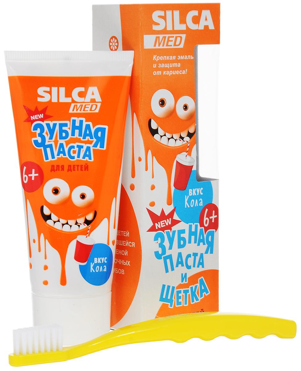 Silca Med Зубная паста детская со вкусом колы + Зубная щетка с 6 лет цвет желтый600033_желтыйЗубная паста Silca Med подойдет для детей с начавшейся заменой молочных зубов. Активный кальций укрепляет эмаль, а фтор надежно защищает от кариеса. Липа и ромашка снижают дискомфорт десен, мягко ухаживают за полостью рта. Зубная щетка с головкой оптимальной формы идеально подходит для детей с 2 лет. Щетина изготовлена из высококачественного волокна и имеет специальные закругления на концах, чтобы не травмировать десны ребенка. Эргономичная ручка с волнистой поверхностью обеспечит надежную фиксацию пальчиков. Товар сертифицирован.