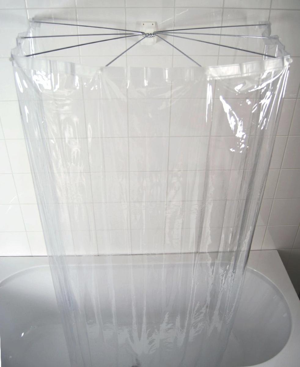 Набор для ванной комнаты Ridder Ombrella, цвет: прозрачный, 2 предмета. 5820058200Размер штанги: 100*70 мм. Размер шторки: 210*170 см