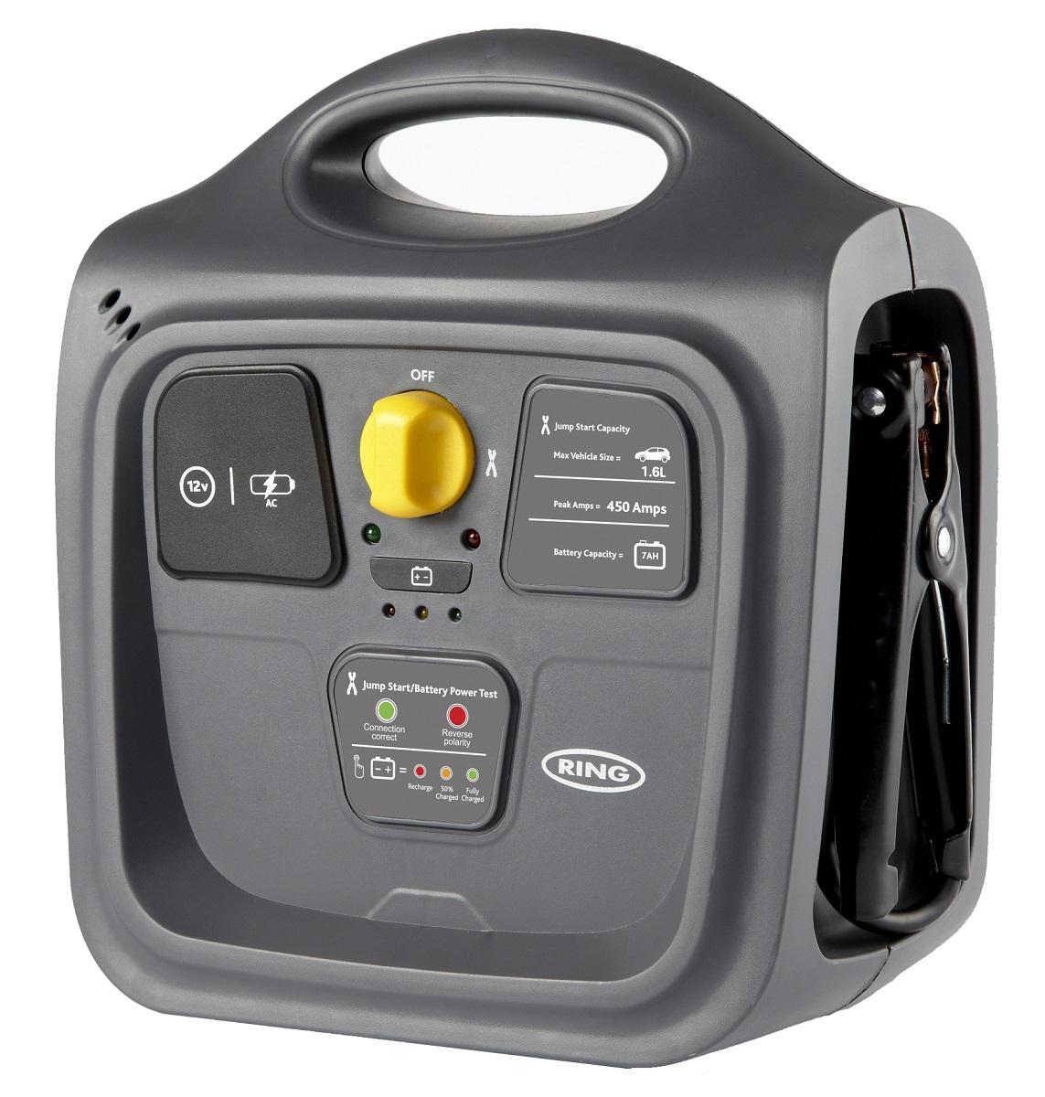 Пусковое многофункциональное устройство и источник питания Ring 7AH POWERPACKREPP145Портативное многофункциональное устройство для экстренного запуска автомобиля и другого транспортного средства, зарядки электронных устройств, освещения местности за счет встроенного источника питания 12В. Рекомендуется для запуска двигателя объемом до 1,6л. Пиковый пусковой ток 450А. Емкость встроенной свинцово-кислотной АКБ 7Ач (12В). Устройство имеет розетку 12В для подключения автоаксессуаров (разъем типа прикуриватель). Зажимы типа крокодил убираются внутрь прибора. Встроенный индикатор зарядки. Компактный дизайн, английский подход и безупречное качество делают этот прибор незаменимым помощником холодной зимой и жарким летом.