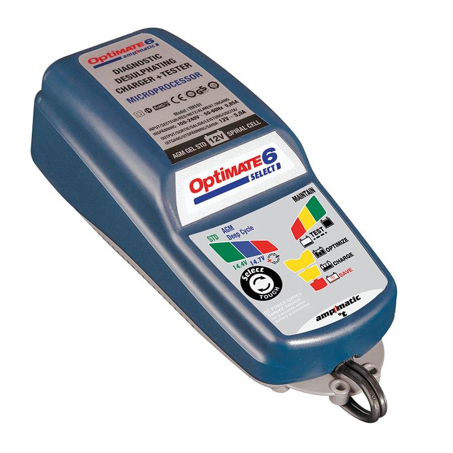 Зарядное устройство OptiMate 6 Select. TM190TM190Многоступенчатое зарядное устройство Optimate от бельгийской компании TecMate с режимами тестирования, восстановления глубокоразряженных аккумуляторных батарей, десульфатации и хранения. Управление полностью автоматическое микропроцессорное, переключение режимов 14,4В и 14,7В сенсорной кнопкой. Заряжает все типы 12В свинцово-кислотных аккумуляторных батарей, в т.ч. AGM, GEL. Защита от короткого замыкания, переполюсовки, искрообразования, перегрева. Оптимизирует срок службы и здоровье аккумуляторной батареи. Гарантия 3 года (замена на новое изделие). Влагозащищенный корпус. Рекомендовано 10-ю ведущими производителями мототехники. Optimate 6 select рекомендуется для АКБ от 3Ач до 200 Ач. Ток заряда 0,4 - 5,0А. Старт зарядки АКБ от 0,5В. Температурный режим -40...+40С. В комплект устройства входят аксессуары O11 кольцевой разъем постоянного подключения и O4 зажимы типа крокодил. Optimate 6 select имеет дополнительный режим источника питания, для замещения аккумуляторной батареи во время...