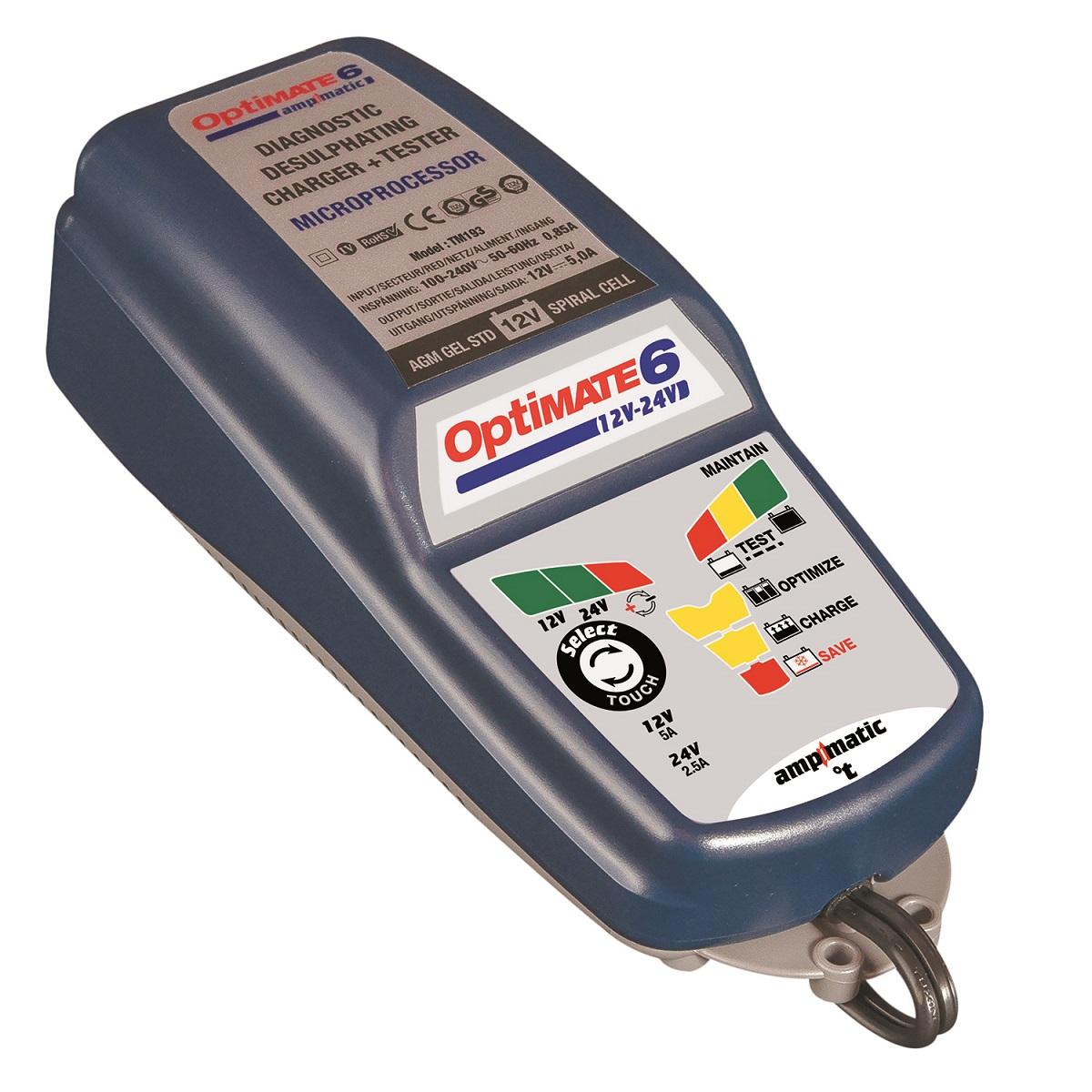 Зарядное устройство OptiMate 6, 12/24V. TM194TM194Многоступенчатое зарядное устройство Optimate от бельгийской компании TecMate с режимами тестирования, восстановления глубокоразряженных аккумуляторных батарей, десульфатации и хранения. Управление автоматическое AmpmaticTM микропроцессор, переключение режимов 12В и 24В сенсорной кнопкой. Заряжает все типы 12В и 24В свинцово-кислотных аккумуляторных батарей, в т.ч. AGM, GEL. Защита от короткого замыкания, переполюсовки, искрообразования, перегрева. Оптимизирует срок службы и здоровье аккумуляторной батареи. Гарантия 3 года (замена на новое изделие). Влагозащищенный корпус. Рекомендовано 10-ю ведущими производителями мототехники. Optimate 6 рекомендуется для АКБ до 240 Ач - 12В, до 100Ач - 24В. Ток заряда 0,4 - 5,0А для 12В; 0,4 - 2,5А для 24В. Старт зарядки АКБ от 0,5В. Температурный режим -40...+40С. В комплект устройства входят аксессуары O11 кольцевой разъем постоянного подключения и O4 зажимы типа крокодил.