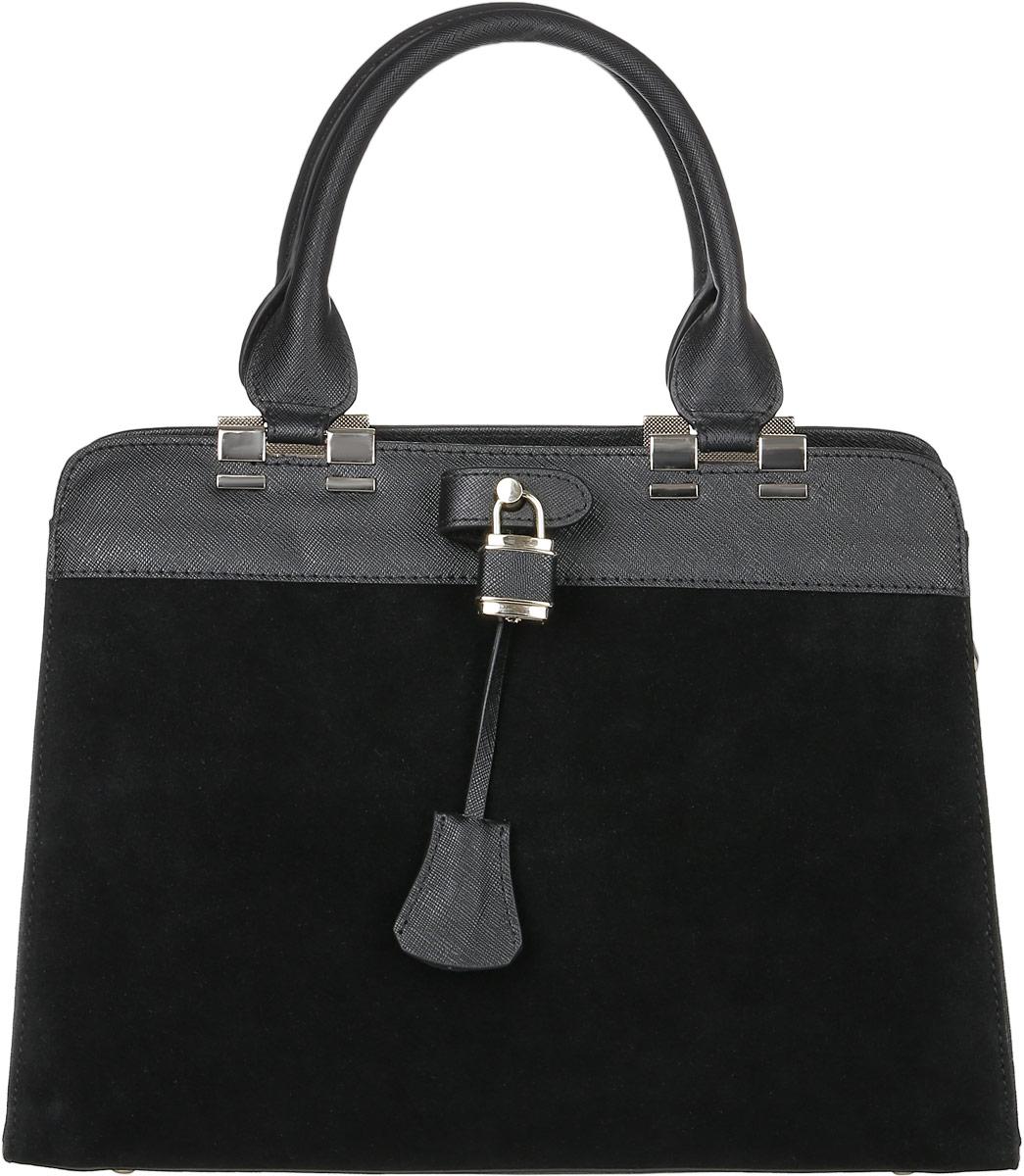 Сумка женская Vita Pelle, цвет: черный. 3055-53055-5 gam saffianoСтильная женская сумка Vita Pelle изготовлена из натуральной кожи. Лицевая часть модели выполнена из натуральной замши. Изделие имеет одно вместительное отделение. Внутри расположены два накладных открытых кармана, прорезной карман на застежке-молнии и карман на молнии по середине. Закрывается изделие на застежку-молнию. На задней стенке снаружи карман на молнии. Сумка оснащена наплечным ремнем регулируемым по длине. Изделие украшено металлическим замочком и ключиком к нему. Дно модели дополнено металлическими ножками.