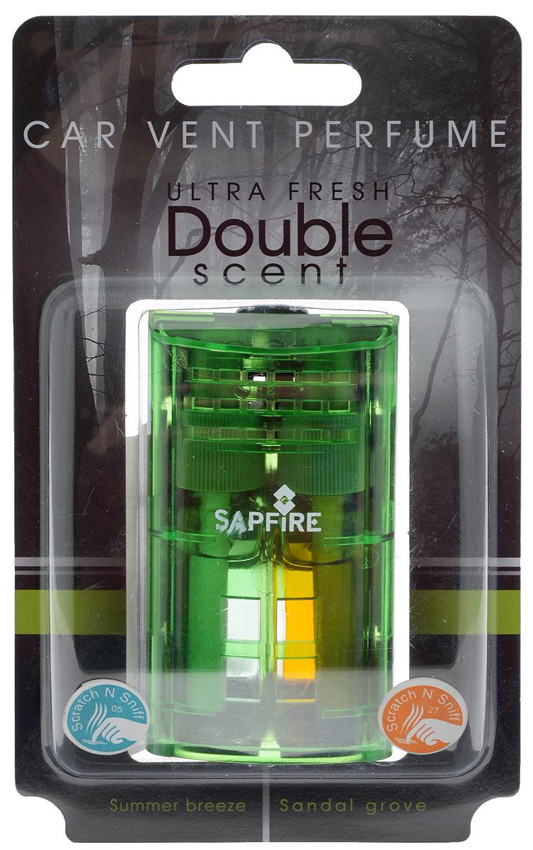 Ароматизатор в дефлектор Sapfire Ultra Fresh. Double Scent, цвет: зеленый, сандал, пряные цветы, 2 х 4,5 млSAA-07911_зелёныйАроматизатор Sapfire Ultra Fresh. Double Scent - два аромата в одной упаковке. Ароматизатор выполнен из пластика и вставляется в дефлектор машины. Можно использовать каждый аромат отдельно по очереди или одновременно. Аромат держится до 30 дней. Регулятор на крышке позволяет изменить интенсивность аромата. Состав: пластик, парфюмерная композиция высокой концентрации, стабилизатор. Размер ароматизатора: 7,5 х 4 х 2,5 см. Объем одного флакона: 4,5 мл.