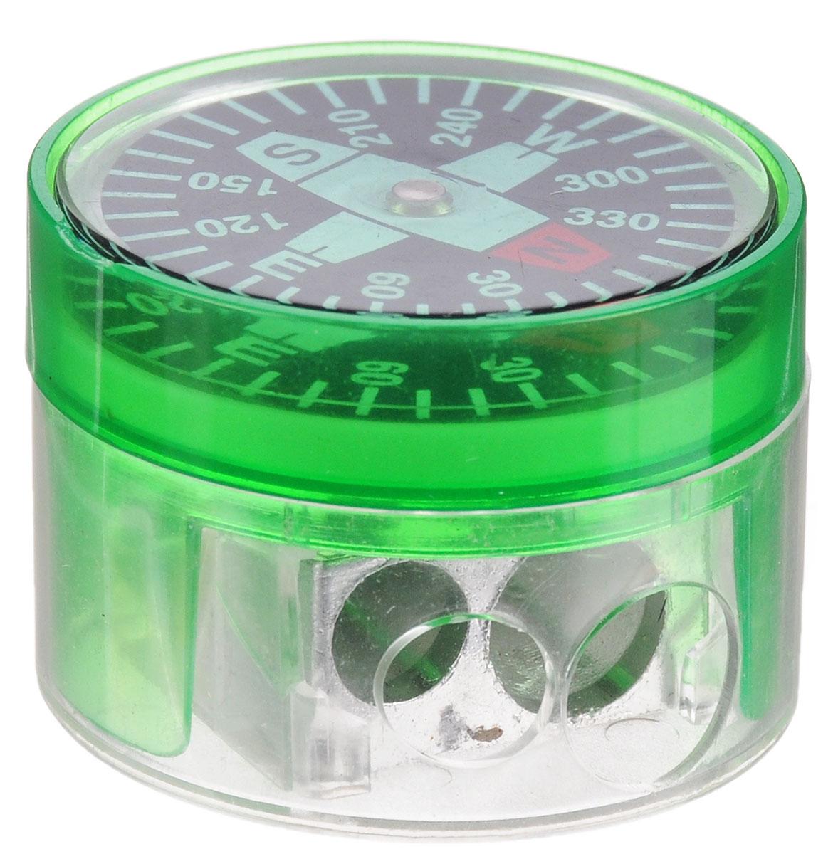 Brunnen Точилка двойная Компас цвет зеленый29836\255718\BCD_зеленыйДвойная точилка Brunnen Компас выполнена из прочного пластика. В точилке имеются два отверстия для карандашей различного диаметра. Подходит для разных видов карандашей. При повороте пластикового контейнера, отверстия закрываются. Полупрозрачный контейнер для сбора стружки позволяет визуально контролировать уровень заполнения и вовремя производить очистку. В крышку контейнера встроен небольшой компас.