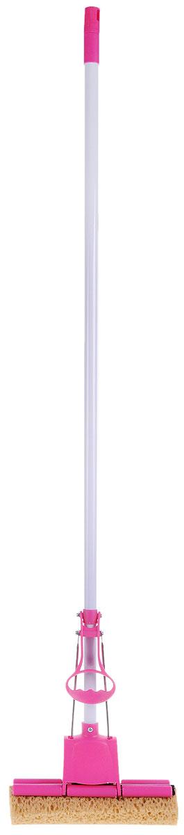 Швабра Home Queen Чудо-спонж с отжимом, цвет: фуксия, длина 127 см68203_фуксияШвабра Home Queen Чудо-спонж, выполненная из металла, пенополиуретана и пластика, подходит для всех видов напольных покрытий. Швабра, имеющая отжимной механизм с одним роликом, хорошо впитывает большое количество влаги и легко устраняет загрязнения в труднодоступных местах благодаря угловой форме насадки. Швабра Home Queen Чудо-спонж проста в использовании, легко отжимает воду при помощи поднятия отжимного механизма, сохраняя ваши руки сухими и чистыми. Длина ручки швабры: 112 см. Размер губки: 27 см х 9 см х 6 см.