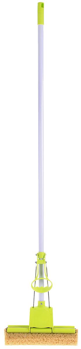 Швабра Home Queen Чудо-спонж с отжимом, цвет: салатовый, длина 127 см68203_салатовыйШвабра Home Queen Чудо-спонж, выполненная из металла, пенополиуретана и пластика, подходит для всех видов напольных покрытий. Швабра, имеющая отжимной механизм с одним роликом, хорошо впитывает большое количество влаги и легко устраняет загрязнения в труднодоступных местах благодаря угловой форме насадки. Швабра Home Queen Чудо-спонж проста в использовании, легко отжимает воду при помощи поднятия отжимного механизма, сохраняя ваши руки сухими и чистыми. Длина ручки швабры: 112 см. Размер губки: 27 см х 9 см х 6 см.