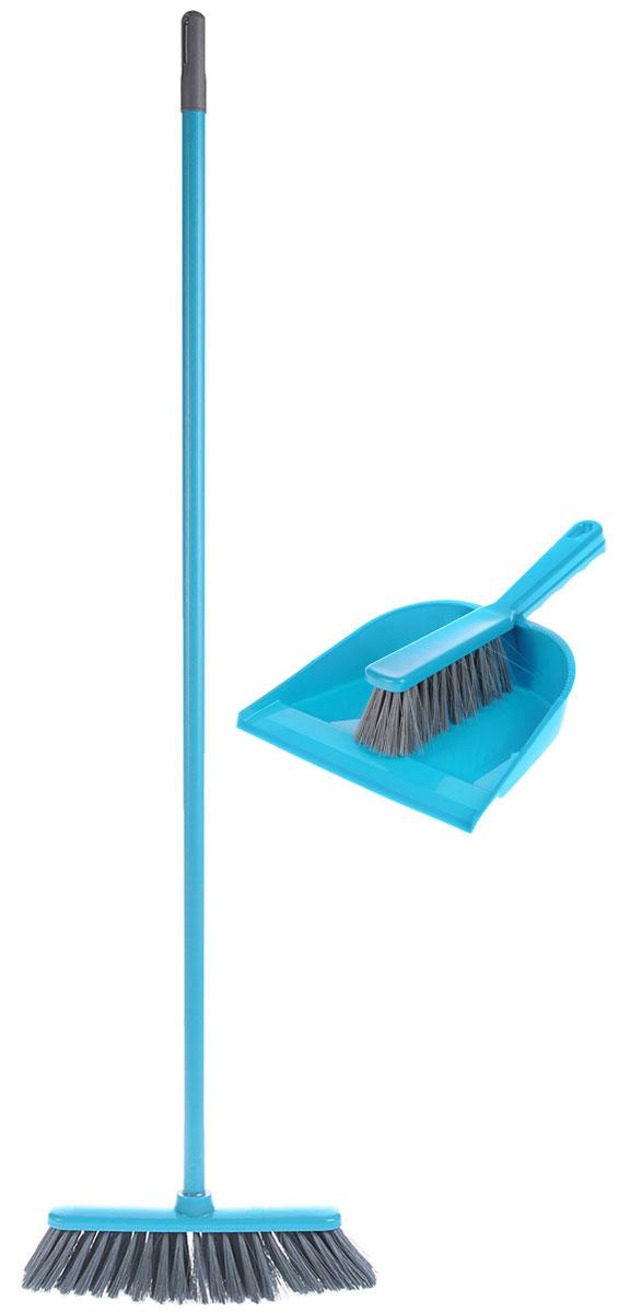 Набор для уборки York Combi, цвет: бирюзовый, серый, 3 предмета8201_бирюзовый, серыйКомплект для уборки York Combi состоит из щетки, щетки-сметки и совка. Все изделия изготовлены из высококачественного пластика. Вместительный совок удерживает собранный мусор, позволит эффективно и быстро совершить уборку в любом помещении, а сглаженный край совка обеспечивает наиболее плотное прилегание к полу. Щетка имеет удобную форму, позволяющую вымести мусор даже из труднодоступных мест. Предметы набора оснащены удобными ручками с отверстиями для подвешивания. С комплектом для уборки York Combi уборка станет легче и приятнее. Общая длина щетки-метелки: 117 см. Длина ворса щетки-метелки: 7 см. Общая длина щетки-сметки: 26 см. Длина ворса щетки-сметки: 5 см. Длина совка: 32,5 см. Размер рабочей части совка: 23 х 22 х 5 см.