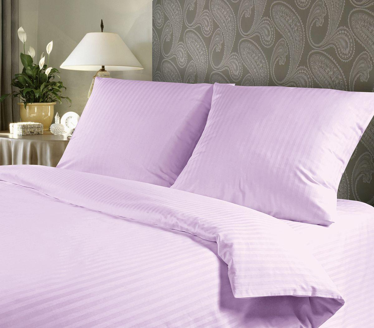 Комплект белья Verossa, 2-спальный, наволочки 70х70, цвет: сиреневый192832Сатин - настоящая роскошь для любителей понежиться в постели. Вас манит его блеск, завораживает гладкость, ласкает мягкость, и каждая минута с ним - истинное наслаждение. Тонкая пряжа и атласное переплетение нитей обеспечивают сатину мягкость и деликатность. Легкий блеск сатина делает дизайны живыми и переливающимися. 100% хлопок, не электризуется и отлично пропускает воздух, ткань дышит. Легко стирается и практически не требует глажения. Не линяет, не изменяет вид после многочисленных стирок.