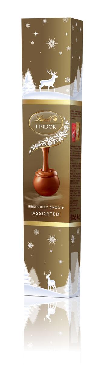 Lindt Lindor Фейерверк золотой шоколадные конфеты ассорти, 75 г (новогодняя упаковка)4620012750302Линдор. Ассорти конфет из шоколада с нежной, тающей начинкой