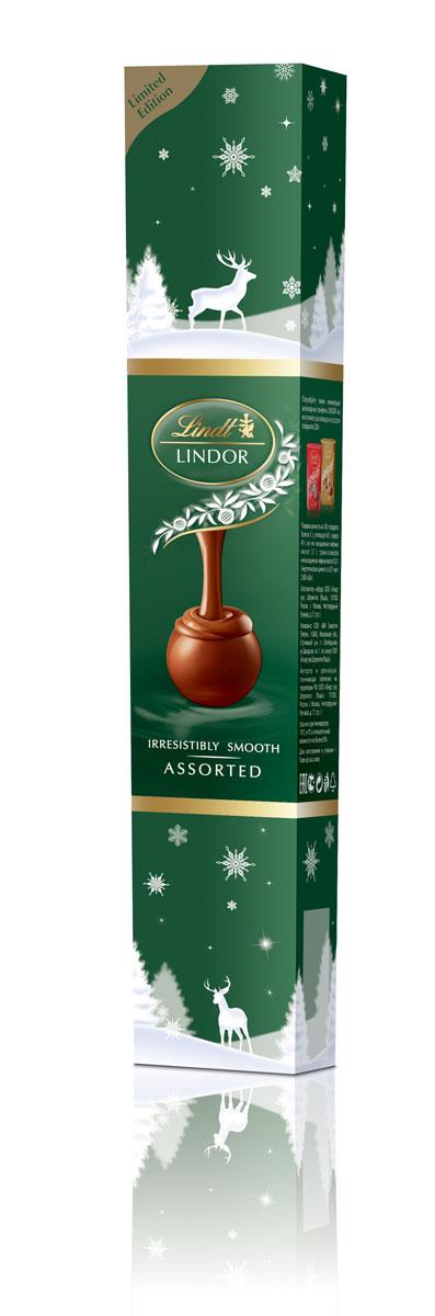 Lindt Lindor Фейерверк зеленый конфеты из молочного шоколада с кокосом и фундуком, 75 г (новогодняя упаковка)4620012750395Линдор. Ассорти конфет из шоколада с нежной, тающей начинкой