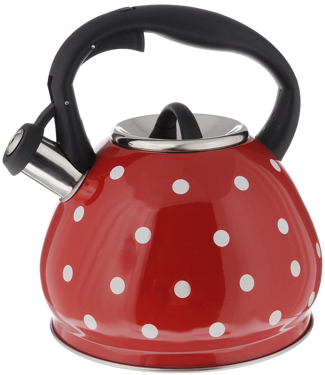 Чайник Hoffmann, со свистком, цвет: красный, черный, 3,5 лНМ 5512/ВЧайник Hoffmann выполнен из высококачественной нержавеющей стали, что делает его весьма гигиеничным и устойчивым к износу при длительном использовании. Носик чайника оснащен насадкой-свистком, что позволит вам контролировать процесс подогрева или кипячения воды. Фиксированная ручка, изготовленная из пластика, оснащена механизмом открывания носика. Эстетичный и функциональный чайник будет оригинально смотреться в любом интерьере. Подходит для всех типов плит, включая индукционные. Можно мыть в посудомоечной машине. Высота чайника (с учетом ручки и крышки): 23 см. Диаметр чайника (по верхнему краю): 10 см. Диаметр основания: 19,5 см.