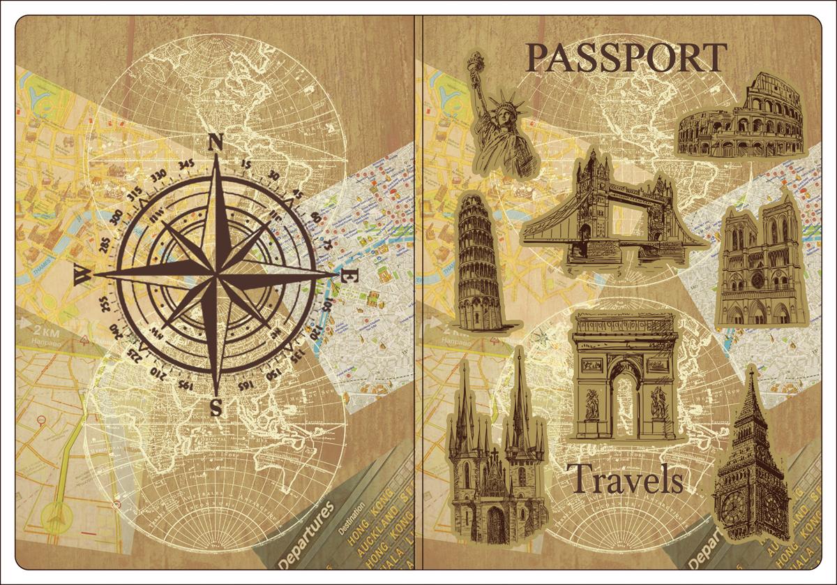 Обложка для паспорта Magic Home, цвет: бежевый, коричневый. 4451544515Обложка для паспорта классической модели.