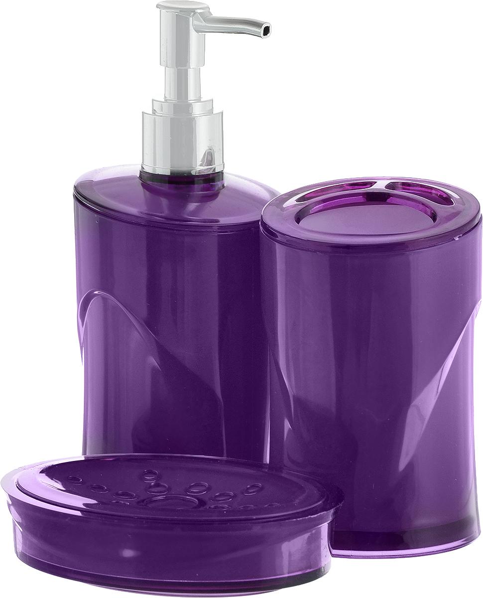 Набор для ванной комнаты Indecor, цвет: фиолетовый, 3 предмета. IND038IND038pНабор для ванной комнаты Indecor состоит из стакана для зубных щеток, дозатора для жидкого мыла и мыльницы. Стакан, дозатор и мыльница изготовлены из высококачественного пластика. Аксессуары, входящие в набор Indecor, выполняют не только практическую, но и декоративную функцию. Они способны внести в помещение изысканность, сделать пребывание в нем приятным и даже незабываемым. Размер стакана: 7 х 7 х 11 см. Объем стакана: 300 мл. Размер дозатора: 7 х 7 х 17,5 см. Объем дозатора: 300 мл. Размер мыльницы: 11,5 х 9 х 3 см.
