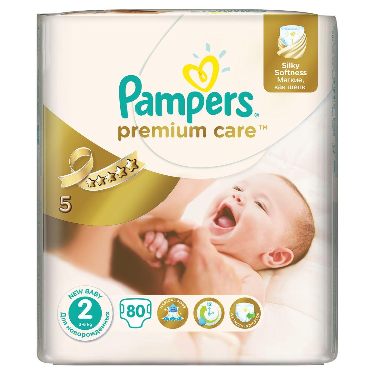 Pampers Подгузники Premium Care 3-6 кг размер 2 80 шт81532776