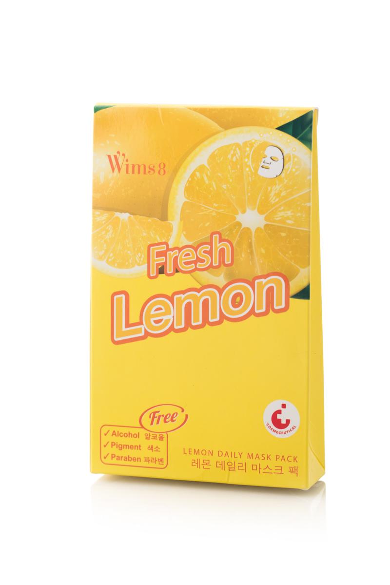 Маска Wims8 Lemon Daily Mask Pack, упаковка 5 шт00-00000559Маска предназначена для ухода за кожей лица. Действие маски направлено на антибактериальное, тонизирующее действие, улучшение обмена веществ и укрепление кровеносных сосудов. Экстракт лимона стимулирует процесс регенерации клеток кожи и обладает омолаживающим действием.