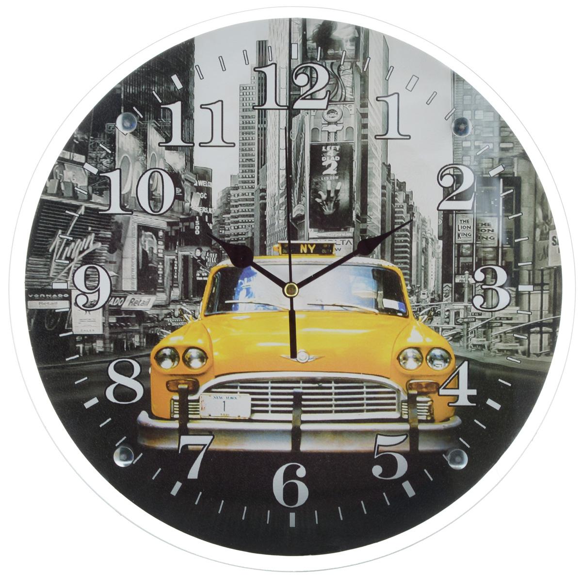 Часы настенные Proffi Home Такси, диаметр 33 смВ884Настенные кварцевые часы Proffi Home Такси, изготовленные из ДВП и стекла, прекрасно подойдут под интерьер вашего дома. Круглые часы имеют три стрелки: часовую, минутную и секундную. Часы оснащены металлической планкой для подвешивания. Диаметр часов: 33 см. Часы работают от 1 батарейки типа АА напряжением 1,5 В. Батарейка в комплект не входит.