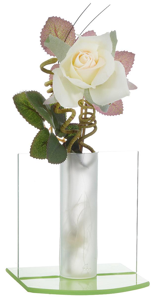 Композиция декоративная House & Holder Роза, цвет: белый, зеленый, высота 21 смPVA03_белый, зеленыйДекоративная композиция House & Holder Роза, выполненная из высококачественного стекла, пластика и текстиля, представляет собой белую розу в вазе. Композиция House & Holder Роза- изделие с высокой степенью выразительности и декоративности, включающая в себя элементы, которые усиливают ее эмоционально- чувственное восприятие. От латинского decoro – украшаю. То есть декоративная композиция ставит своей целью украшать предметы, интерьер, элементы одежды и прочее. Также изделие станет отличным подарком.