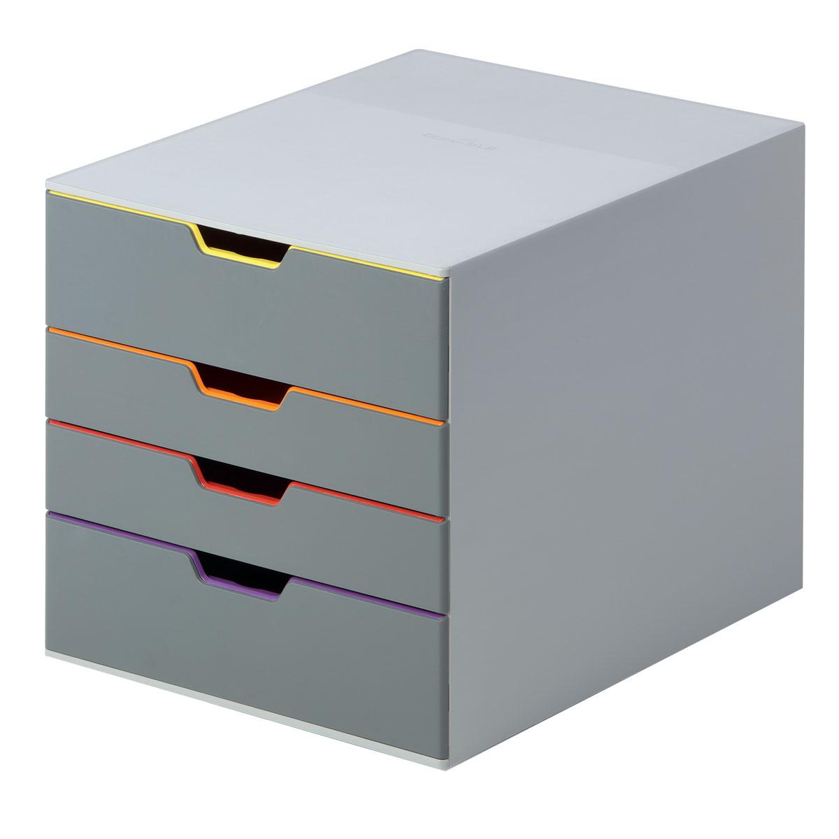 Короб для документов Durable Varicolor. 7604-277604-27Выполнен из высококачественного пластика. Выдвижные ящики закрытого типа, оснащены стопорами и табуляторами для маркировки. Боксы можно устанавливать друг на друга, фиксируются при помощи резиновых ножек. 4 ящика. Размер 292x280x356 мм. Стильный короб для документов с 4 выдвижными цветными ящичками. Выполнен из пластика премиального качества. Широкие лотки для удобного хранения большого количества документов. Верхний лоток запирается на замок, что позволяет хранить в боксе ценные бумаги и аксессуары. Выдвижные ящички выполнены в разных цветах, что позволяет группировать документы по тематикам и быстро их находить. Подходят для форматов А4, С4, Folio. Бокс оснащен стопорами, которые не позволяют выпасть лоткам при резком открывании, а также съемными табуляторами для маркировки. Не скользит даже на самых гладких поверхностях благодаря силиконовым ножкам.