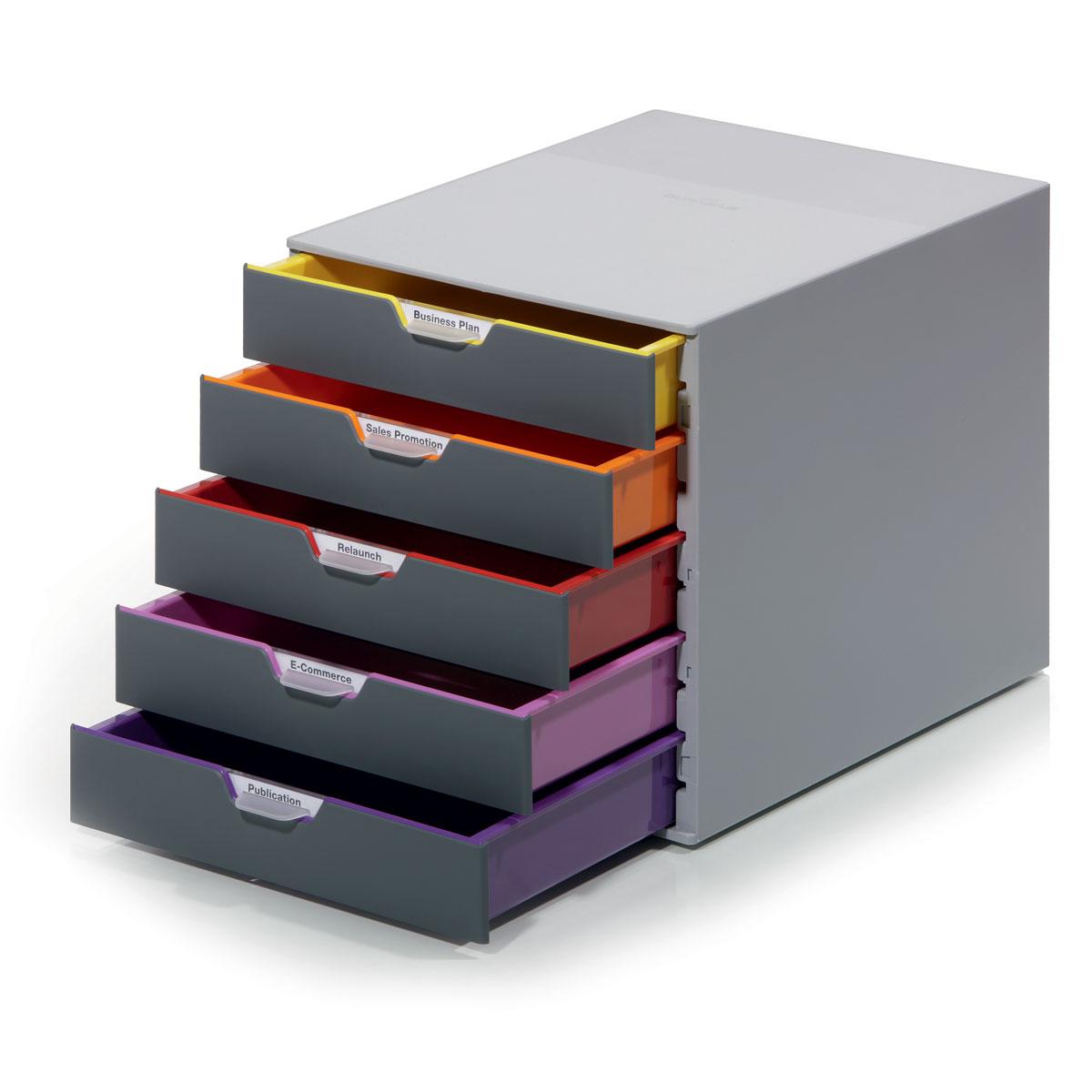 Короб для документов Durable Varicolor. 7605-277605-27Выполнен из высококачественного пластика. Выдвижные ящики закрытого типа, оснащены стопорами и табуляторами для маркировки. Боксы можно устанавливать друг на друга, фиксируются при помощи резиновых ножек. 5 ящиков. Размер 292x280x356 мм
