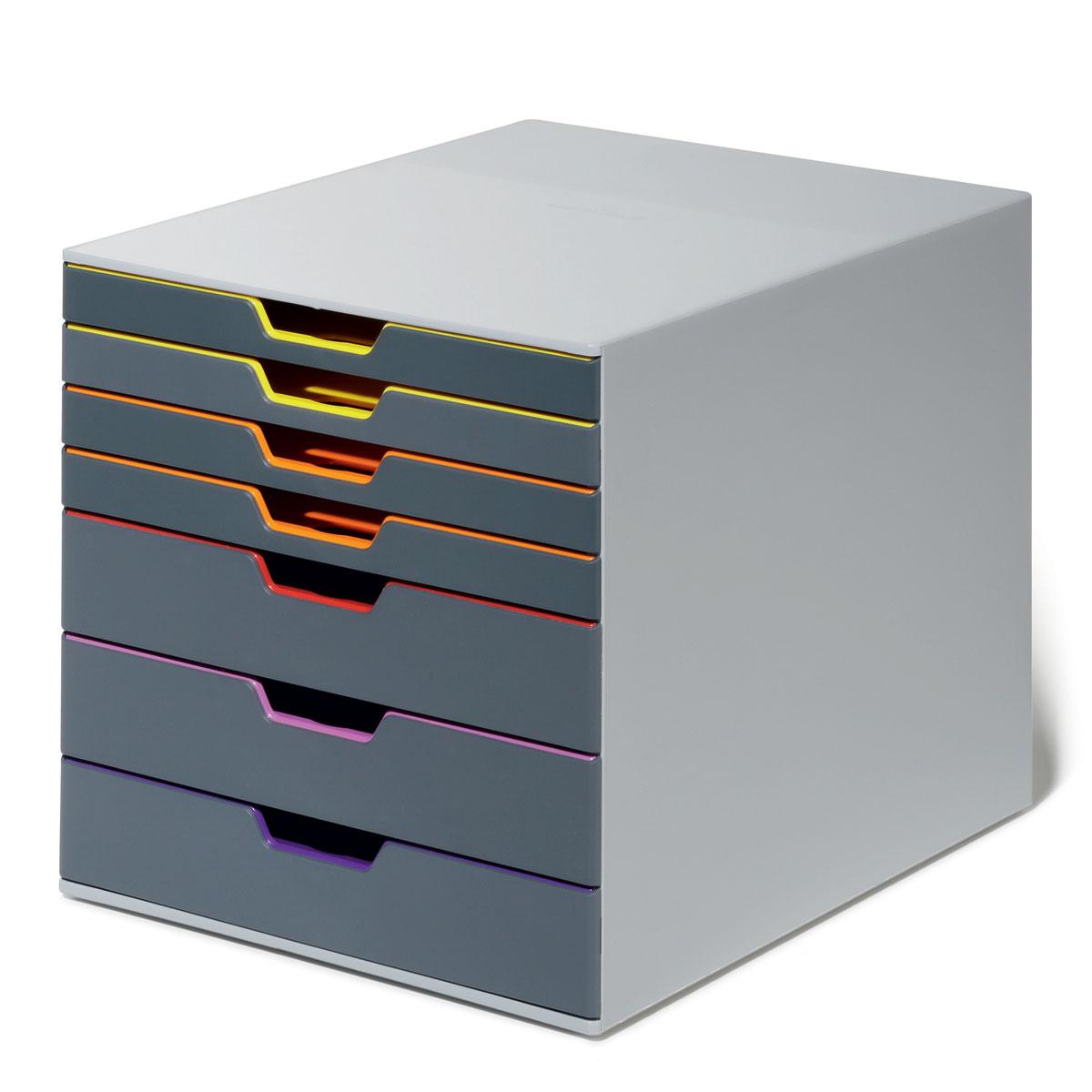 Короб для документов Durable Varicolor. 7607-277607-27Выполнен из высококачественного пластика. Выдвижные ящики закрытого типа, оснащены стопорами и табуляторами для маркировки. Боксы можно устанавливать друг на друга, фиксируются при помощи резиновых ножек. 7 ящиков. Размер 292x280x356 мм
