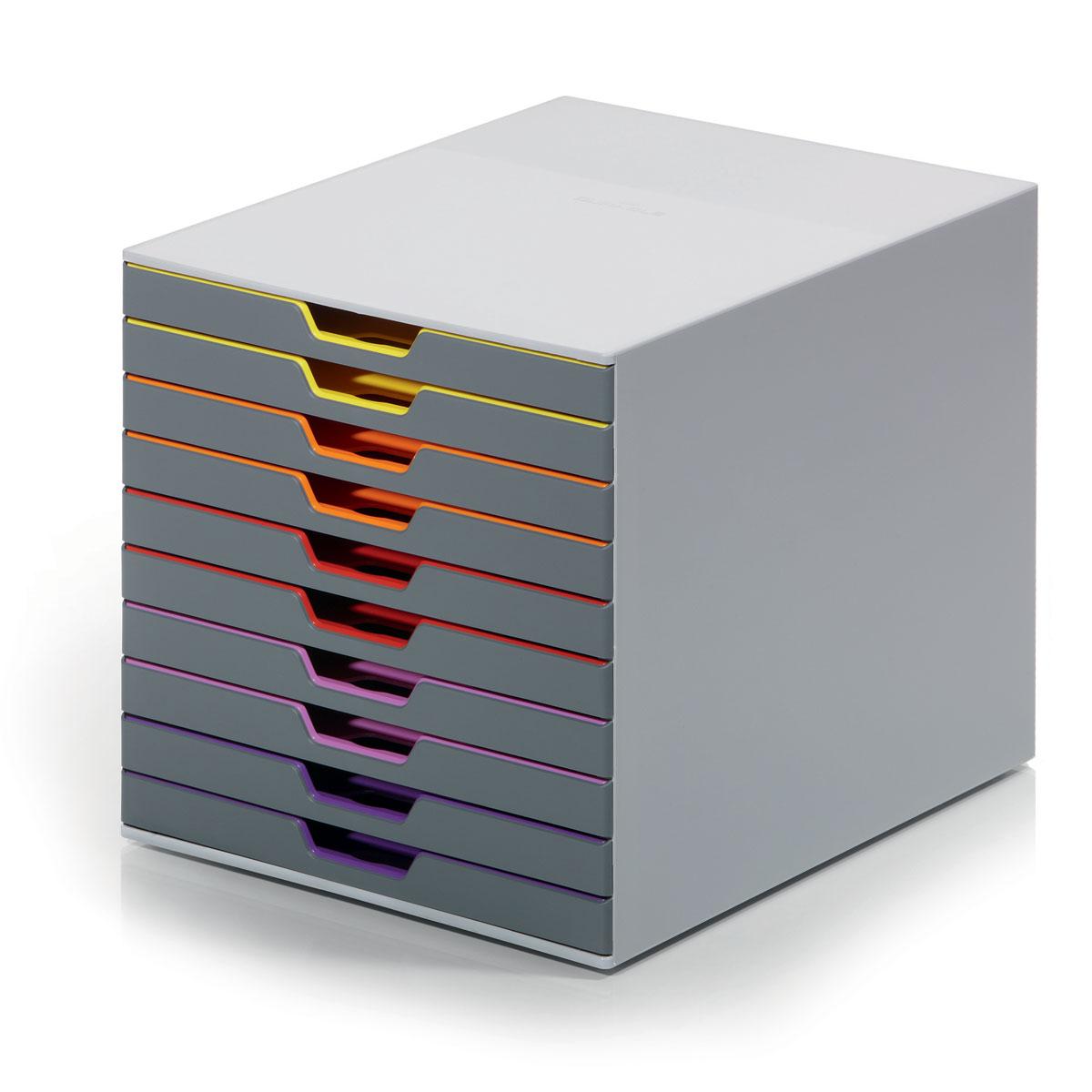 Короб для документов Durable Varicolor. 7610-277610-27Выполнен из высококачественного пластика. Выдвижные ящики закрытого типа, оснащены стопорами и табуляторами для маркировки. Боксы можно устанавливать друг на друга, фиксируются при помощи резиновых ножек. 10 ящиков. Размер 292x280x356 мм