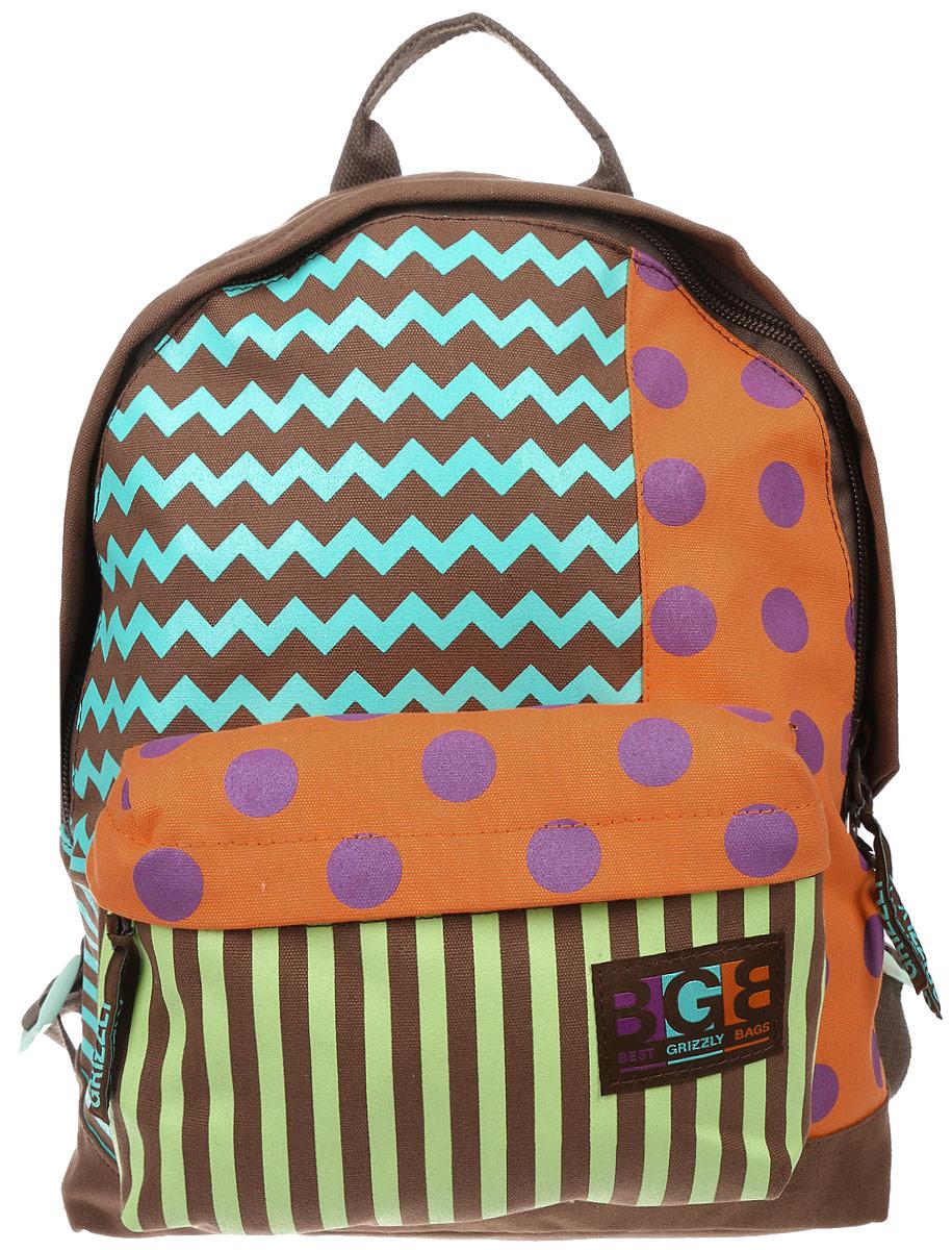 Рюкзак городской женский Grizzly, цвет: коричневый, мультиколор, 16 л. RD-750-3/5