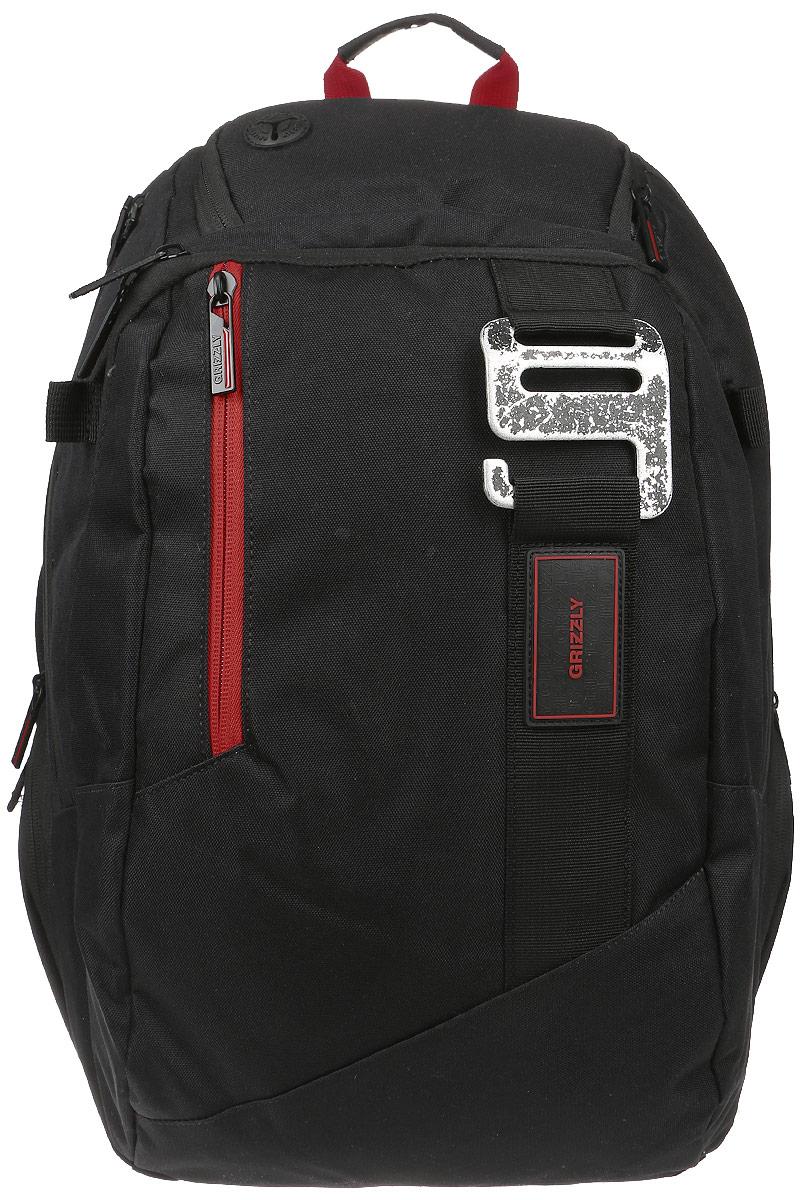 Рюкзак городской мужской Grizzly, цвет: черный, 26 л. RU-617-1/2RU-617-1/2Рюкзак городской Grizzl выполнен из высококачественного плотного полиэстера и оформлен фирменной нашивкой. На лицевой стороне расположен вместительный карман, который содержит вшитый карман на молнии, карман с сеткой на молнии и пять открытых накладных карманов для мелочей и канцелярских принадлежностей. Также на лицевой стороне расположен вшитый карман на молнии и один небольшой карман со шнурком с заводным кольцом. На боковых сторонах расположены два кармана на молнии. На тыльной стороне расположен вертикальный вшитый карман на молнии. Рюкзак оснащен регулируемым грудным ремнем, который фиксируется с помощью застежки-фастекса. Рюкзак имеет петлю для подвешивания и две удобные лямки, длина которых регулируется с помощью пряжек. Изделие застегивается на застежку-молнию. Внутри расположено главное отделение, которое содержит мягкий карман для ноутбука, который застегивается хлястиком на застежку-липучку.