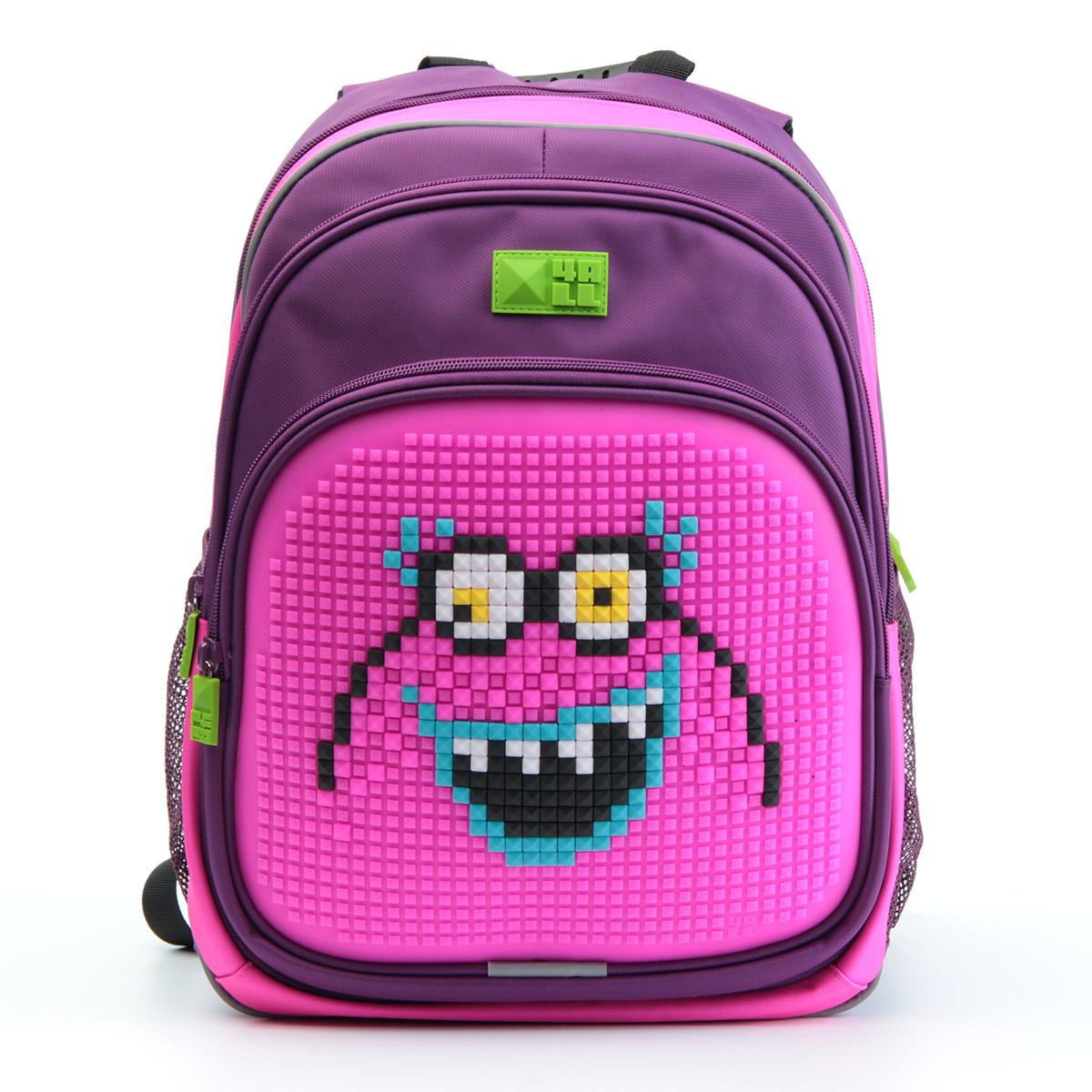 4ALL Рюкзак Kids цвет фиолетовый розовыйRK61-07NРюкзак 4ALL - это одновременно яркий, функциональный школьный аксессуар и площадка для самовыражения. Уникальные рюкзаки Kids имеют гипоаллергенную силиконовую панель и разноцветные мозаичные биты, с помощью которых на рюкзаке можно создавать графические шедевры хоть каждый день! Модель выполнена из полиэстера с водоотталкивающей пропиткой. Рюкзак имеет 2 отделения, снаружи расположены 3 кармана (передний - на молнии, боковые - сетчатые). Система Air Comfort System обеспечивает свободную циркуляцию воздуха между задней стенкой рюкзака и спиной ребенка. Система Ergo System служит равномерному распределению нагрузки на спину ребенка, сохранению правильной осанки. Она способна сделать рюкзак, наполненный учебниками, легким. Ортопедическая спинка как корсет поддерживает позвоночник, правильно распределяя нагрузку. Простая и удобная конструкция спины и лямок позволяет использовать рюкзак даже деткам от 3-х лет. Светоотражающие вставки отвечают за безопасность...