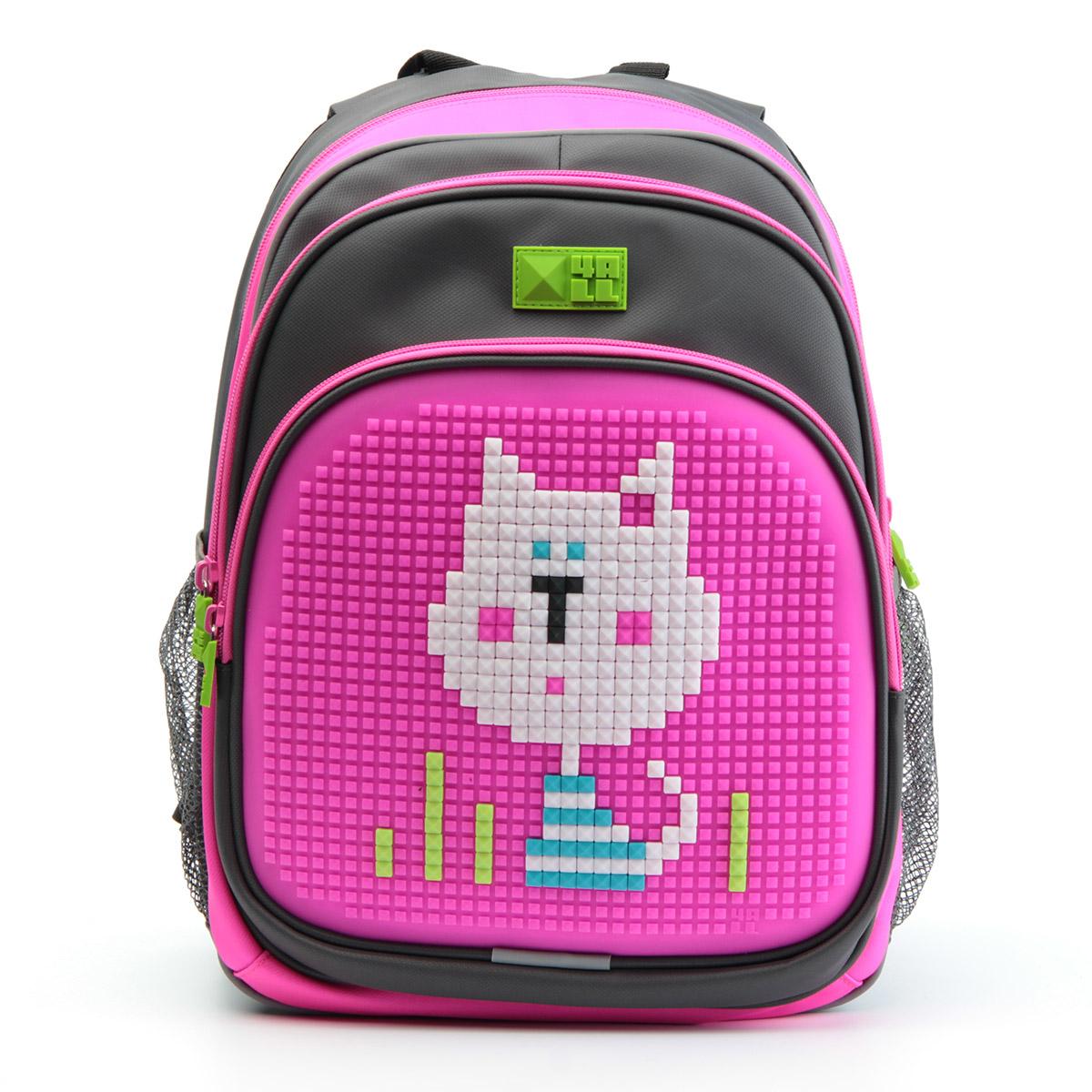 4ALL Рюкзак Kids цвет серый розовыйRK61-05NРюкзак 4ALL - это одновременно яркий, функциональный школьный аксессуар и площадка для самовыражения. Уникальные рюкзаки Kids имеют гипоаллергенную силиконовую панель и разноцветные мозаичные биты, с помощью которых на рюкзаке можно создавать графические шедевры хоть каждый день! Модель выполнена из полиэстера с водоотталкивающей пропиткой. Рюкзак имеет 2 отделения, снаружи расположены 3 кармана (передний - на молнии, боковые - сетчатые). Система Air Comfort System обеспечивает свободную циркуляцию воздуха между задней стенкой рюкзака и спиной ребенка. Система Ergo System служит равномерному распределению нагрузки на спину ребенка, сохранению правильной осанки. Она способна сделать рюкзак, наполненный учебниками, легким. Ортопедическая спинка как корсет поддерживает позвоночник, правильно распределяя нагрузку. Простая и удобная конструкция спины и лямок позволяет использовать рюкзак даже деткам от 3-х лет. Светоотражающие вставки отвечают за безопасность...