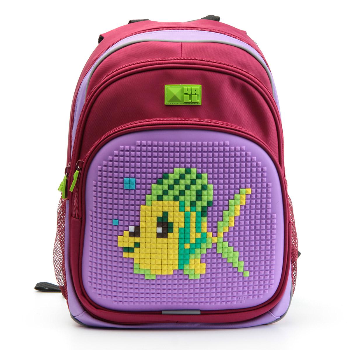 4ALL Рюкзак Kids цвет малиновый сиреневыйRK61-04NРюкзак 4ALL - это одновременно яркий, функциональный школьный аксессуар и площадка для самовыражения. Уникальные рюкзаки Kids имеют гипоаллергенную силиконовую панель и разноцветные мозаичные биты, с помощью которых на рюкзаке можно создавать графические шедевры хоть каждый день! Модель выполнена из полиэстера с водоотталкивающей пропиткой. Рюкзак имеет 2 отделения, снаружи расположены 3 кармана (передний - на молнии, боковые - сетчатые). Система Air Comfort System обеспечивает свободную циркуляцию воздуха между задней стенкой рюкзака и спиной ребенка. Система Ergo System служит равномерному распределению нагрузки на спину ребенка, сохранению правильной осанки. Она способна сделать рюкзак, наполненный учебниками, легким. Ортопедическая спинка как корсет поддерживает позвоночник, правильно распределяя нагрузку. Простая и удобная конструкция спины и лямок позволяет использовать рюкзак даже деткам от 3-х лет. Светоотражающие вставки отвечают за безопасность...