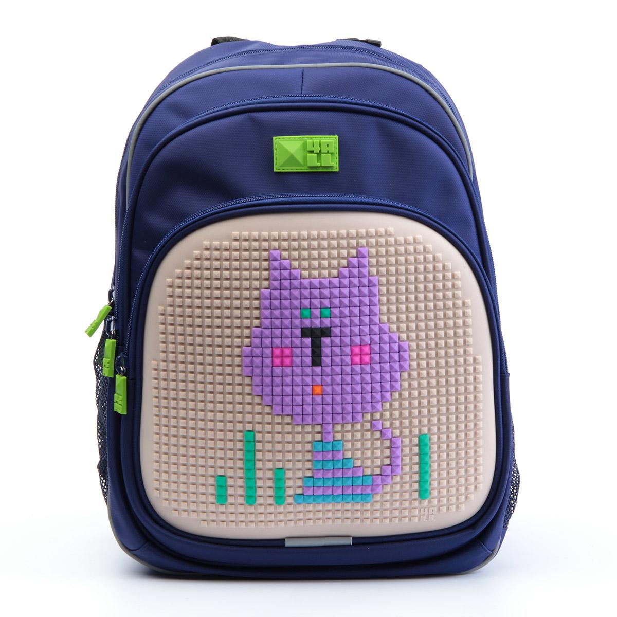 4ALL Рюкзак Kids цвет темно-синийRT63-02NРюкзак 4ALL - это одновременно яркий, функциональный школьный аксессуар и площадка для самовыражения. Уникальные рюкзаки Kids имеют гипоаллергенную силиконовую панель и разноцветные мозаичные биты, с помощью которых на рюкзаке можно создавать графические шедевры хоть каждый день! Модель выполнена из полиэстера с водоотталкивающей пропиткой. Рюкзак имеет 2 отделения, снаружи расположены 3 кармана (передний - на молнии, боковые - сетчатые). Система Air Comfort System обеспечивает свободную циркуляцию воздуха между задней стенкой рюкзака и спиной ребенка. Система Ergo System служит равномерному распределению нагрузки на спину ребенка, сохранению правильной осанки. Она способна сделать рюкзак, наполненный учебниками, легким. Ортопедическая спинка как корсет поддерживает позвоночник, правильно распределяя нагрузку. Простая и удобная конструкция спины и лямок позволяет использовать рюкзак даже деткам от 3-х лет. Светоотражающие вставки отвечают за безопасность...