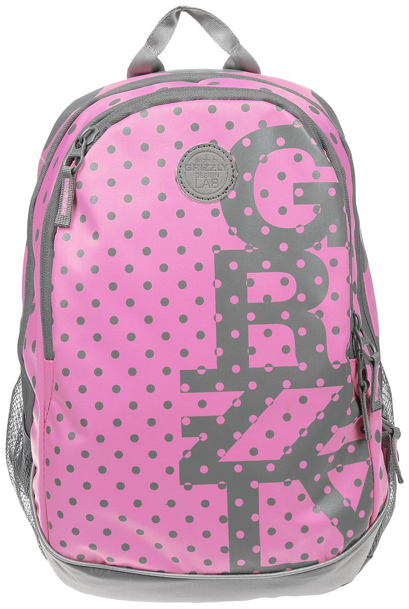 Рюкзак городской женский Grizzly, цвет: розовый, серый, 22 л. RD-740-1/2RD-740-1/2Рюкзак городской Grizzl выполнен из высококачественного нейлона, который не пропускает воду. Изделие оформлено оригинальным принтом. На лицевой стороне расположен вместительный карман на молнии, который содержит карман с сеткой на молнии и три открытых накладных кармана для телефона, мелочей и канцелярских товаров. Также на лицевой стороне находится вшитый карман на молнии. Рюкзак оснащен двумя боковыми карманами для переноски бутылок с водой. Изделие закрывается на застежку-молнию. Внутри расположено главное вместительное отделение, которое содержит карман на молнии.
