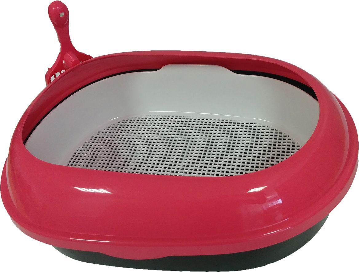 Туалет для кошек ВиСи Клозет, прямой, с решеткой и совком, цвет: розовый, 48х37х15 см1780 СПрямоугольный открытый туалет ВиСи клозет с решеткой состоит из трех частей: основания, специальной решетки и высоких легкосъемных бортиков, закругляющихся к центру туалета. Решетка позволяет оставлять всю внутреннюю поверхность лотка чистой, что немаловажно для требовательных кошек. В комплекте с лотком идет специальный пластиковый решетчатый совочек, ублегчающий как уборку твердых отходов с поверхности решетки, так и использованного наполнителя из лотка. Цвет: розовый
