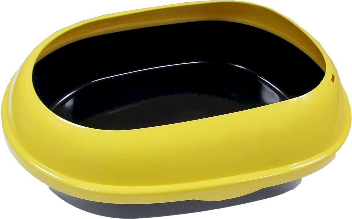 Туалет для кошек ВиСи Клозет, прямой, открытый с бортом, цвет: желтый, 48х37х15 см1780Туалет ВиСи клозет имеет прямоугольную форму и состоит из основания и съемной верхней части, которая представляет собой высокие, закругляющиеся к центру бортики. Такой лоток подойдет кошкам, привыкшим разбрасывать наполнитель во время пользования туалетом. Высокие бортики полностью исключают просыпание наполнителя из лотка. Цвет: желтый