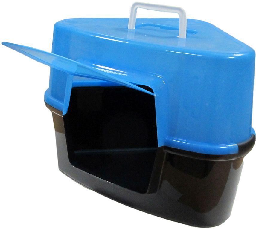 Туалет для кошек ВиСи Клозет, угловой, закрытый, цвет: голубой, 53х39х38,5 см1865ВиСи Клозет Туалет д/кош, углов.закрыт. Цвет: голубой