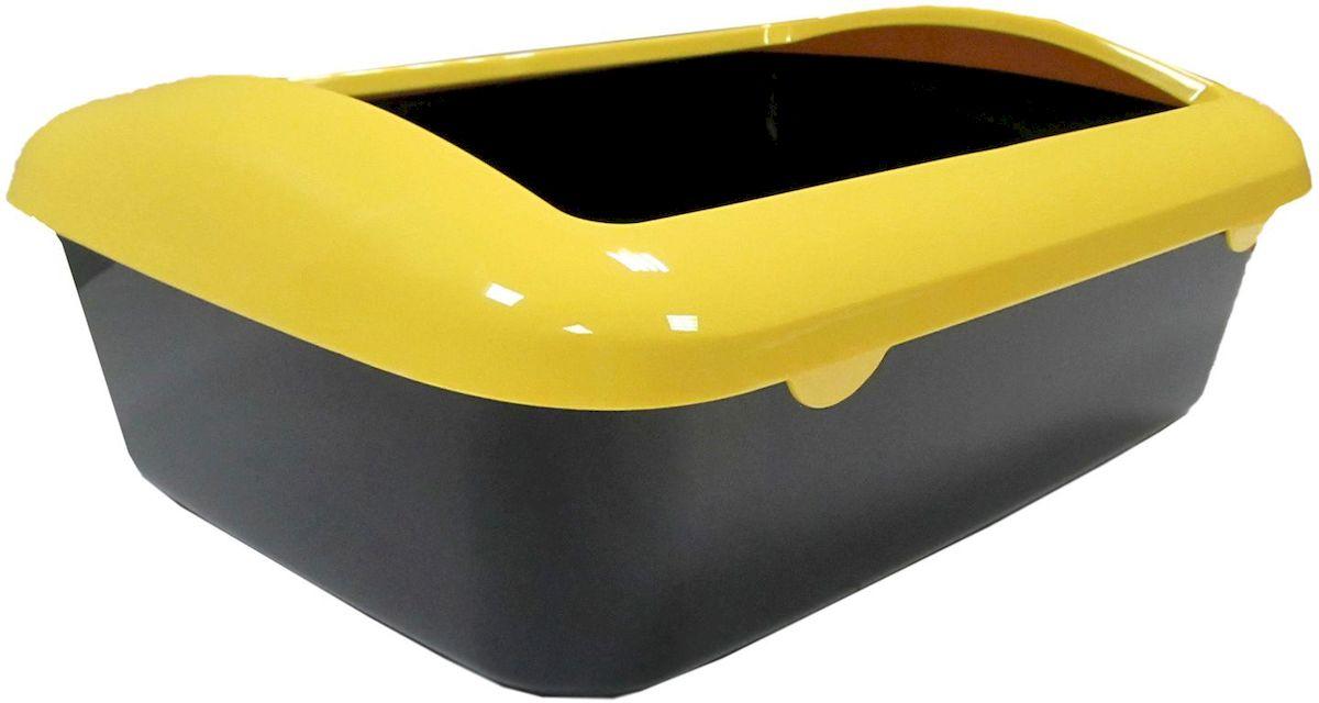 Туалет для кошек ВиСи Клозет, квадратный, с бортиком, открытый, цвет: желтый, 41х30х13 см3920ВиСи Клозет Туалет для кошек квадратный с бортиком открытый. Цвет: желтый